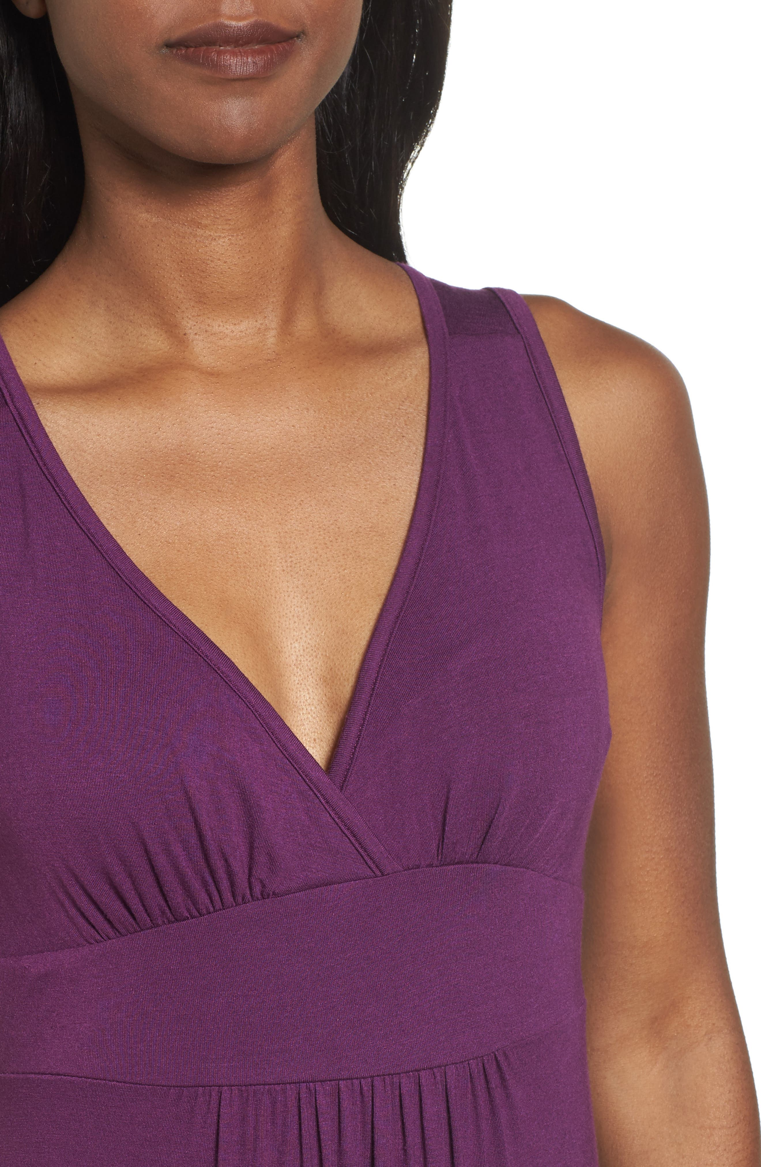 V-Neck Jersey Maxi Dress,                             Alternate thumbnail 4, color,                             PURPLE DARK