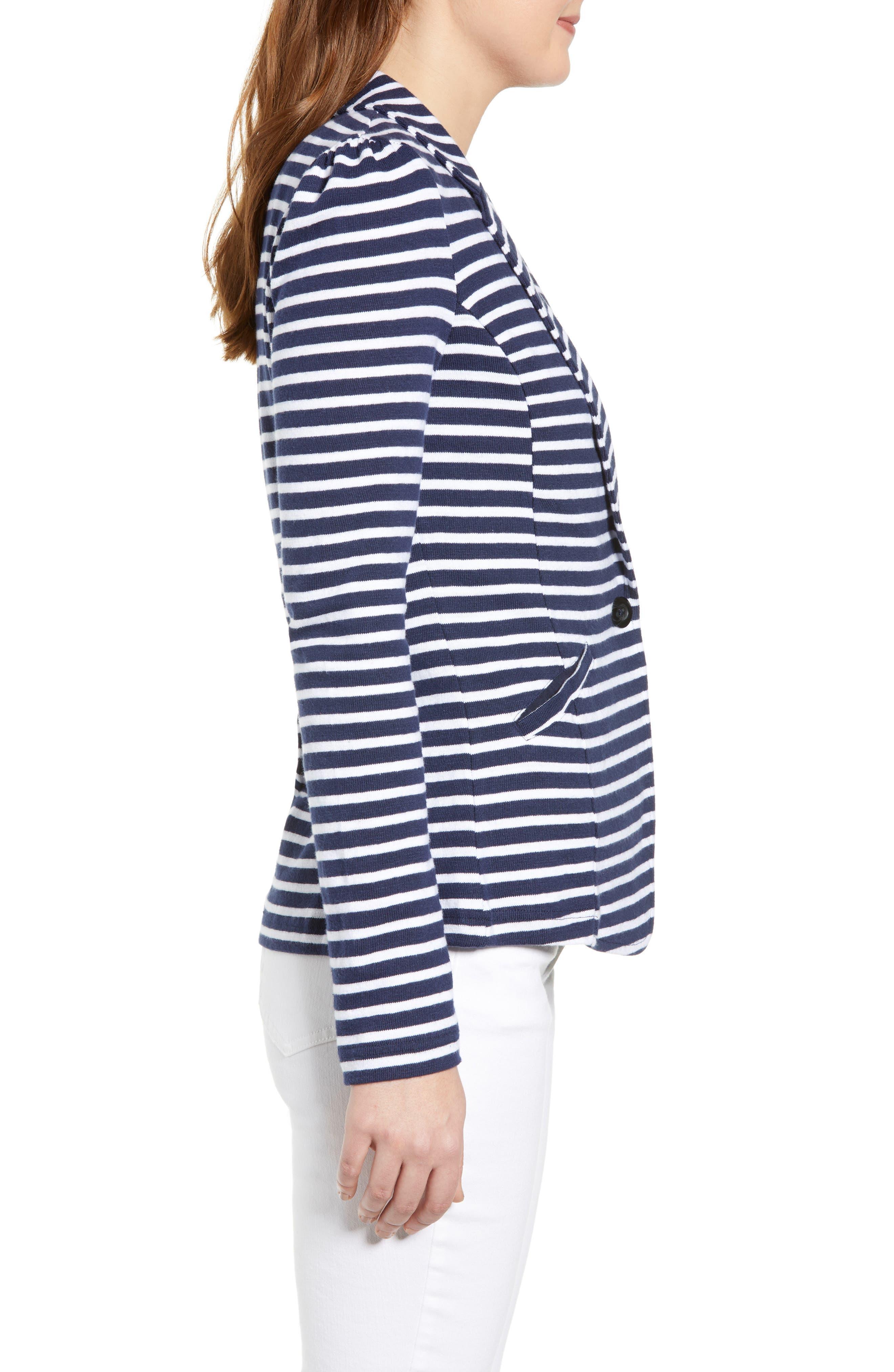 CASLON<SUP>®</SUP>,                             Knit One-Button Blazer,                             Alternate thumbnail 3, color,                             NAVY- WHITE STRIPE