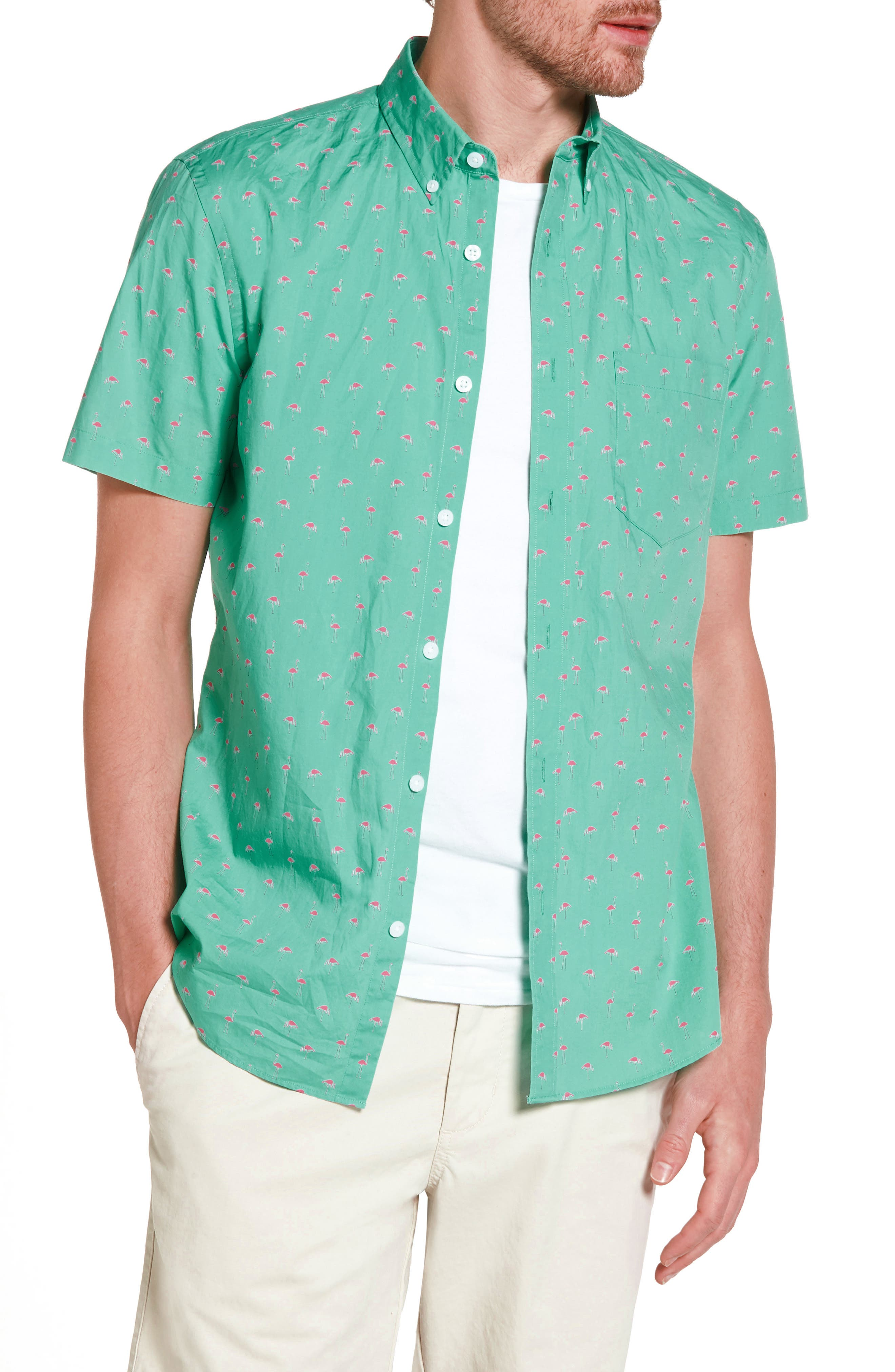 Slim Fit Flamingo Print Sport Shirt,                             Main thumbnail 1, color,                             310