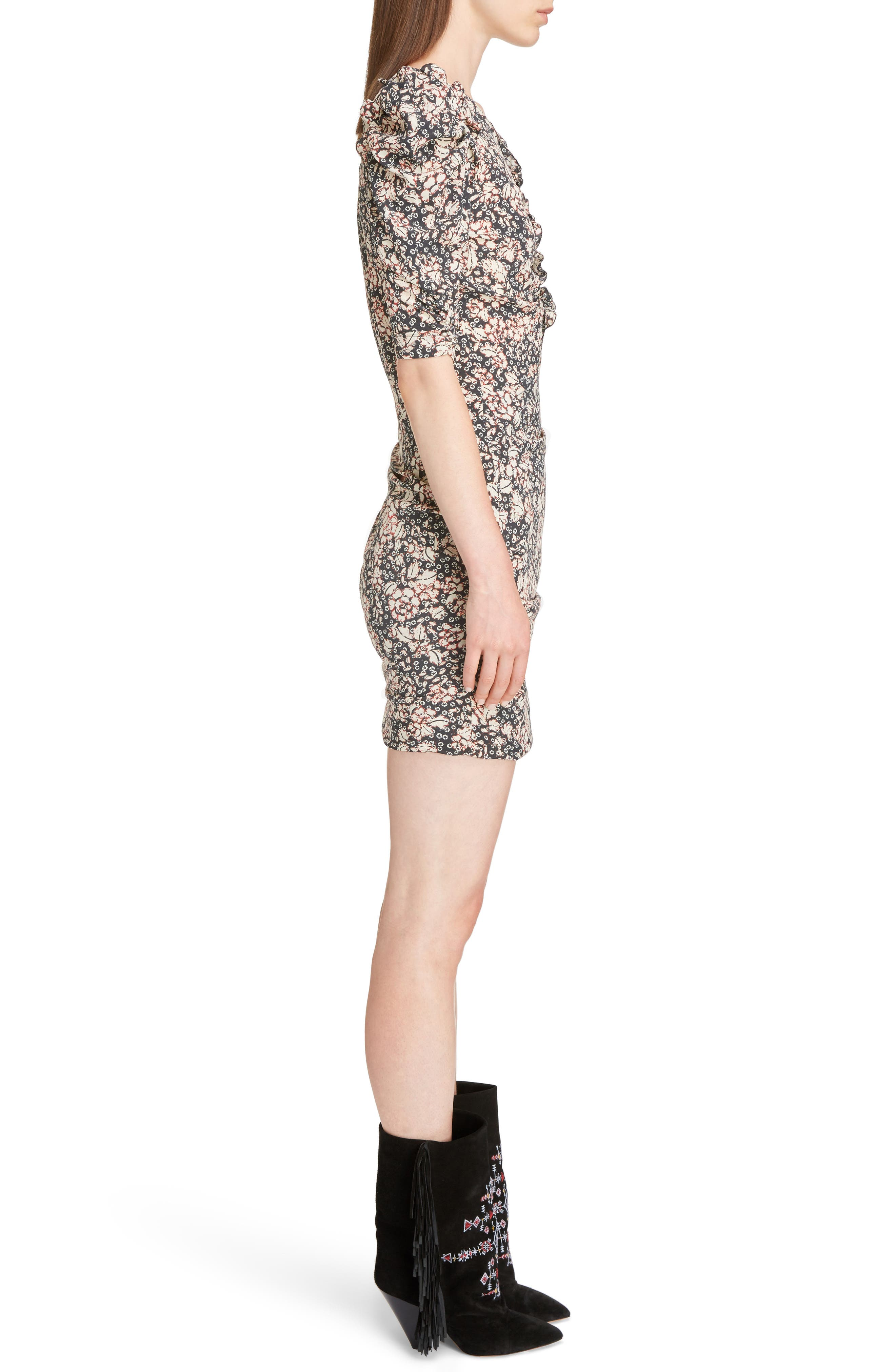 Brizia Floral Print Stretch Silk Puff Sleeve Dress,                             Alternate thumbnail 3, color,