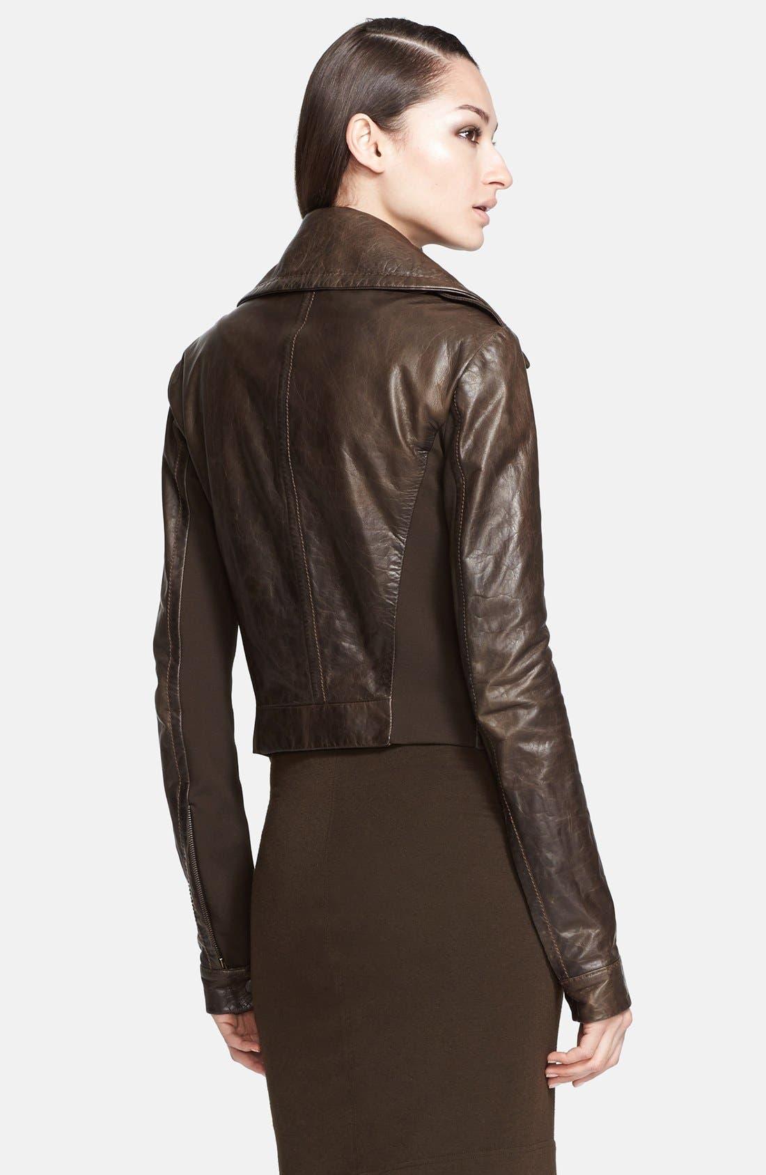 Donna Karan Collection Leather Moto Jacket,                             Alternate thumbnail 3, color,                             242