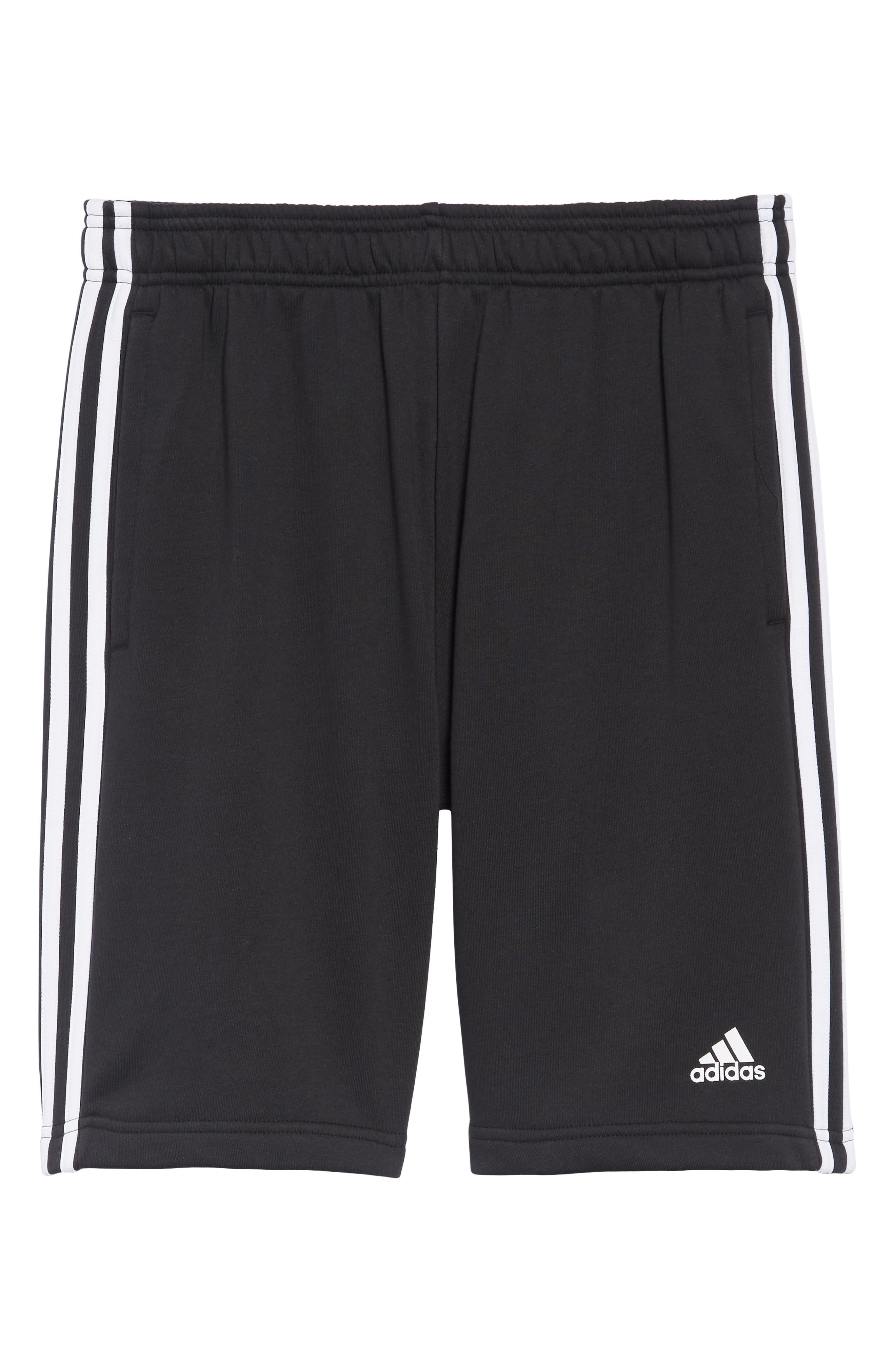 ADIDAS,                             Essentials French Terry Shorts,                             Alternate thumbnail 6, color,                             BLACK/ WHITE