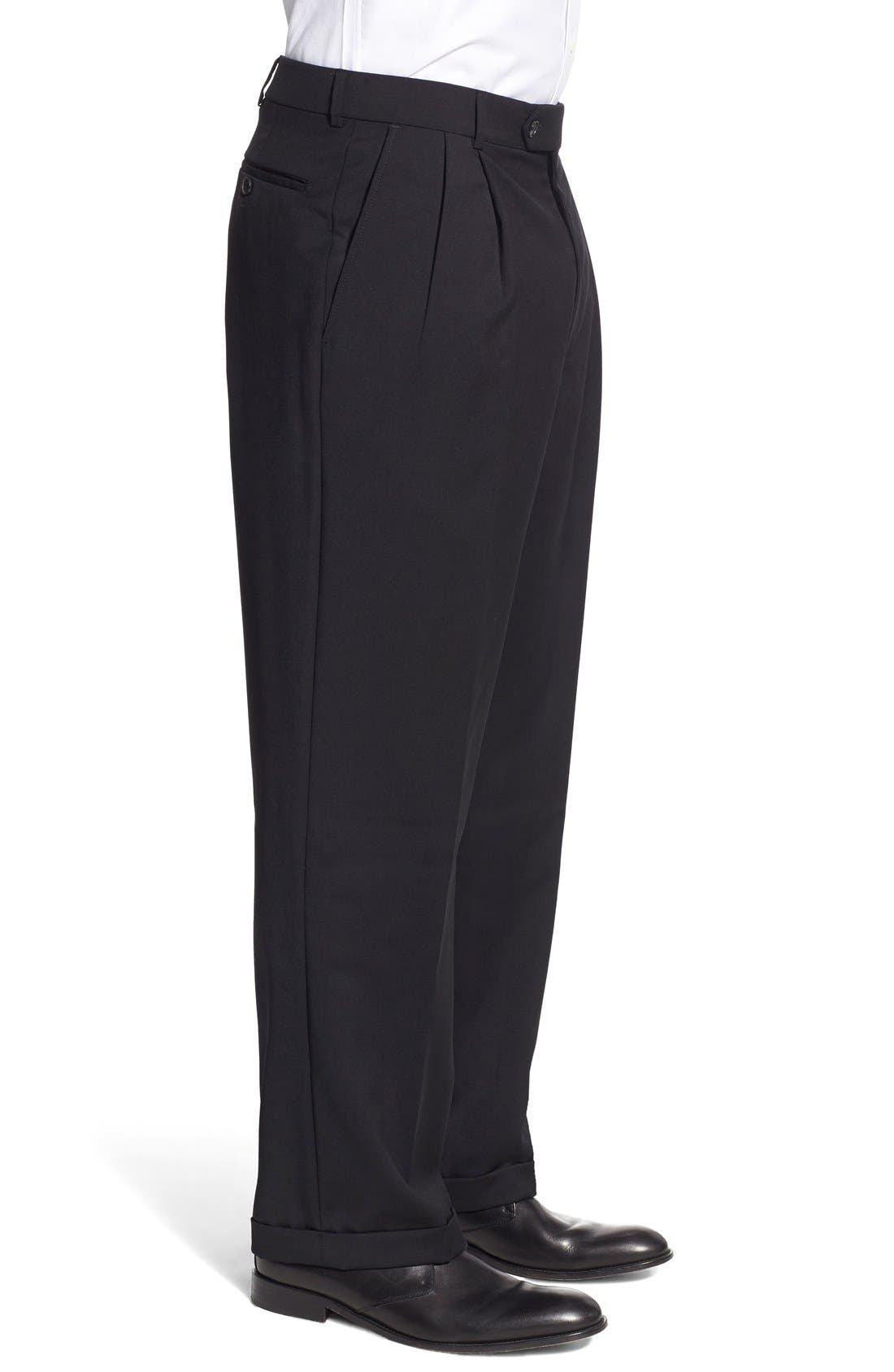 Pleated Solid Wool Trousers,                             Alternate thumbnail 29, color,