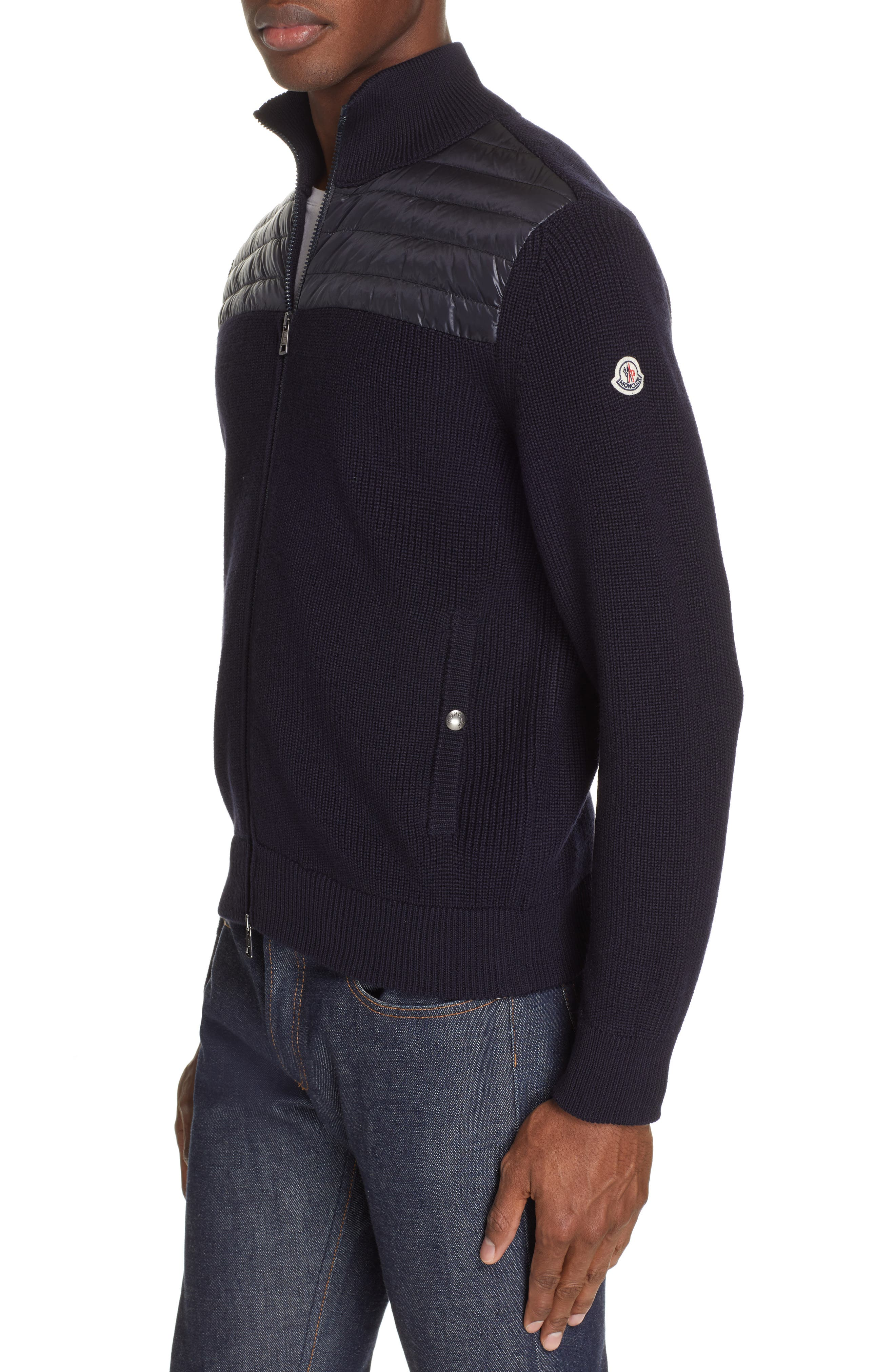 Maglione Knit Jacket with Quilted Yoke, Main, color, NAVY