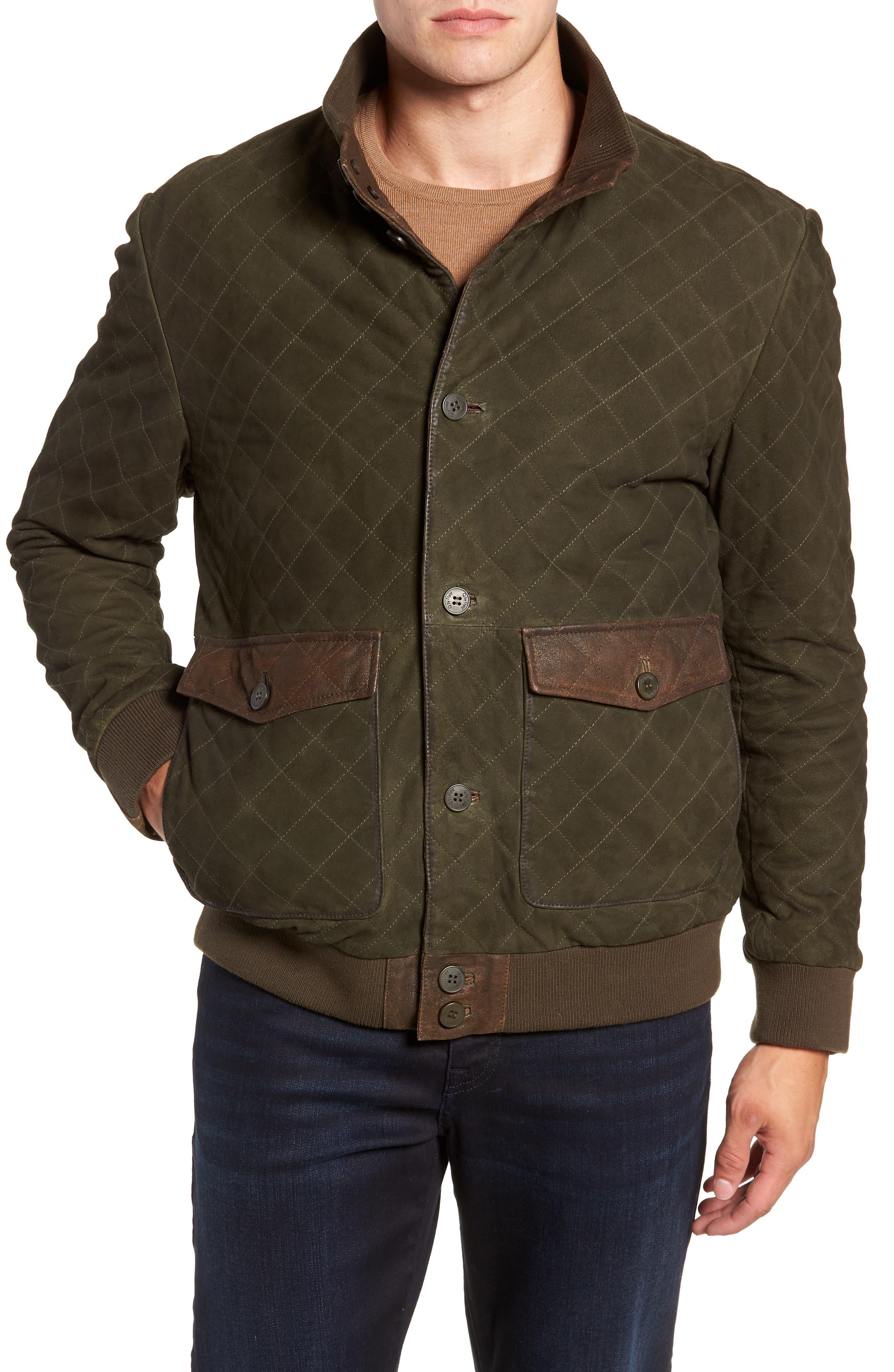 Regular Fit Quilted Suede Jacket,                             Alternate thumbnail 4, color,                             OLIVE