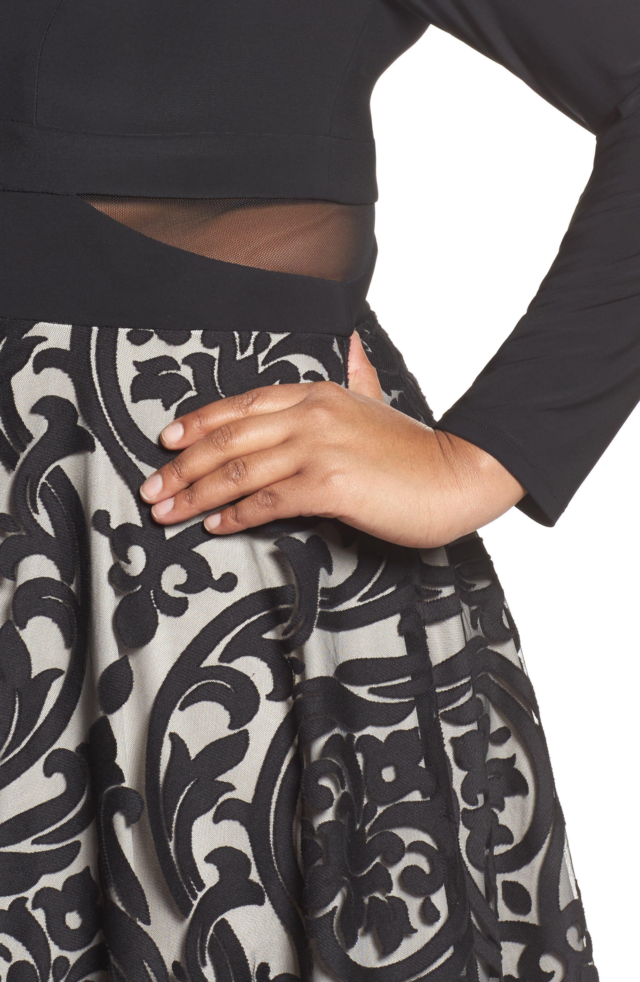 Mesh Waist Burnout Fit & Flare Dress,                             Alternate thumbnail 4, color,                             008