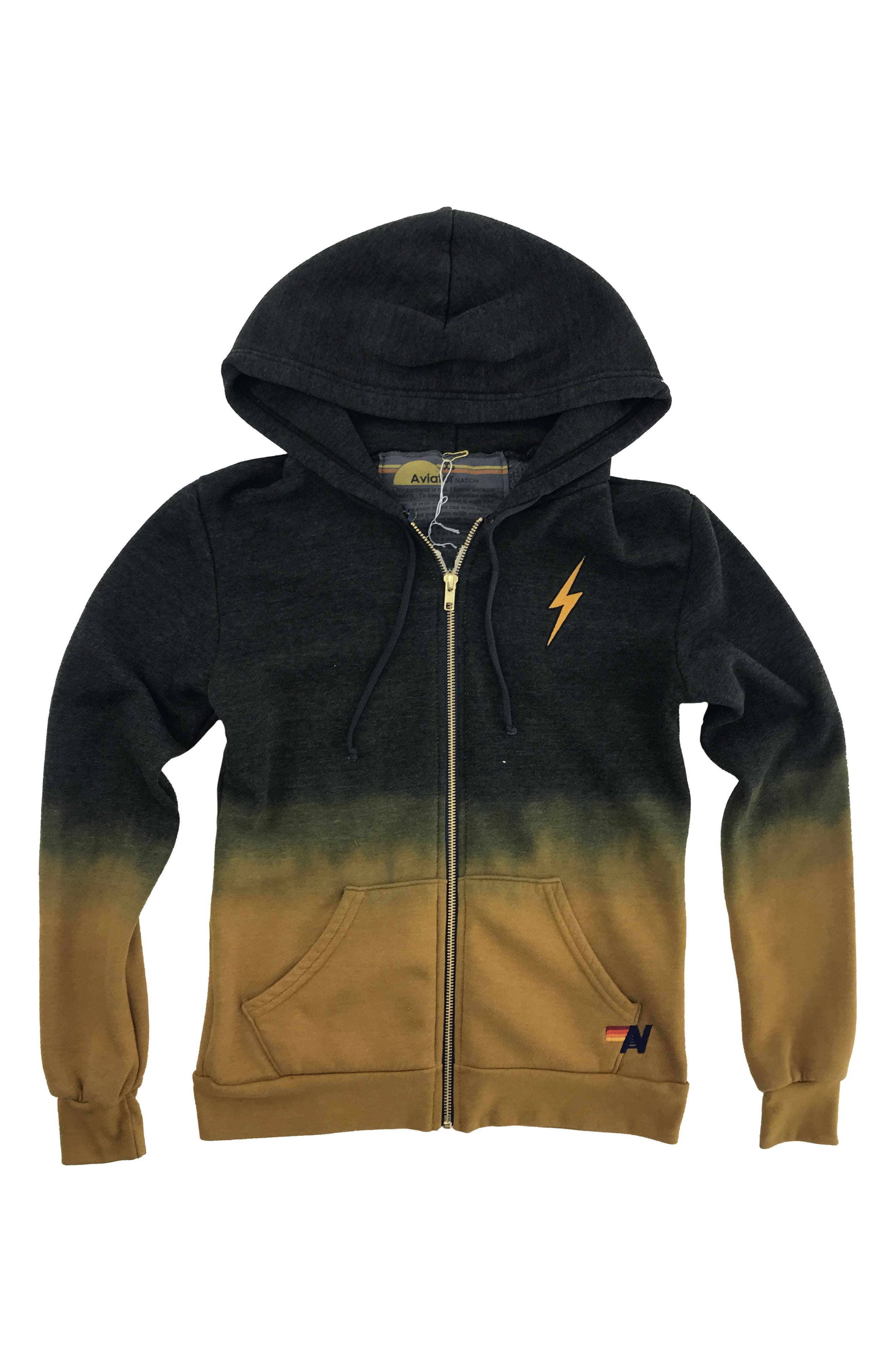 AVIATOR NATION Faded Bolt Embroidered Hoodie Jacket in Nugget Gold / Charcoal