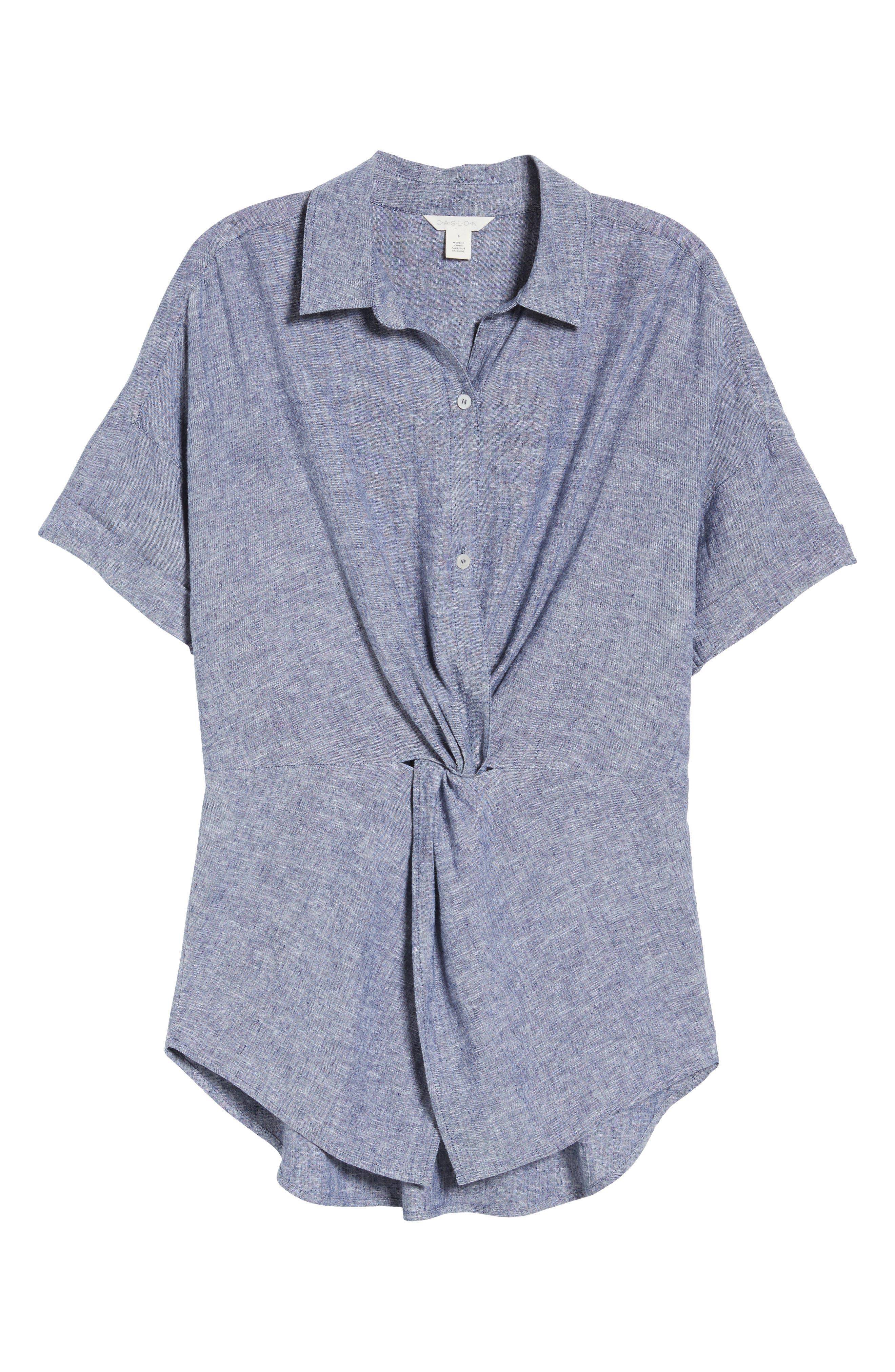 Twist Front Linen Blend Shirt,                             Alternate thumbnail 18, color,