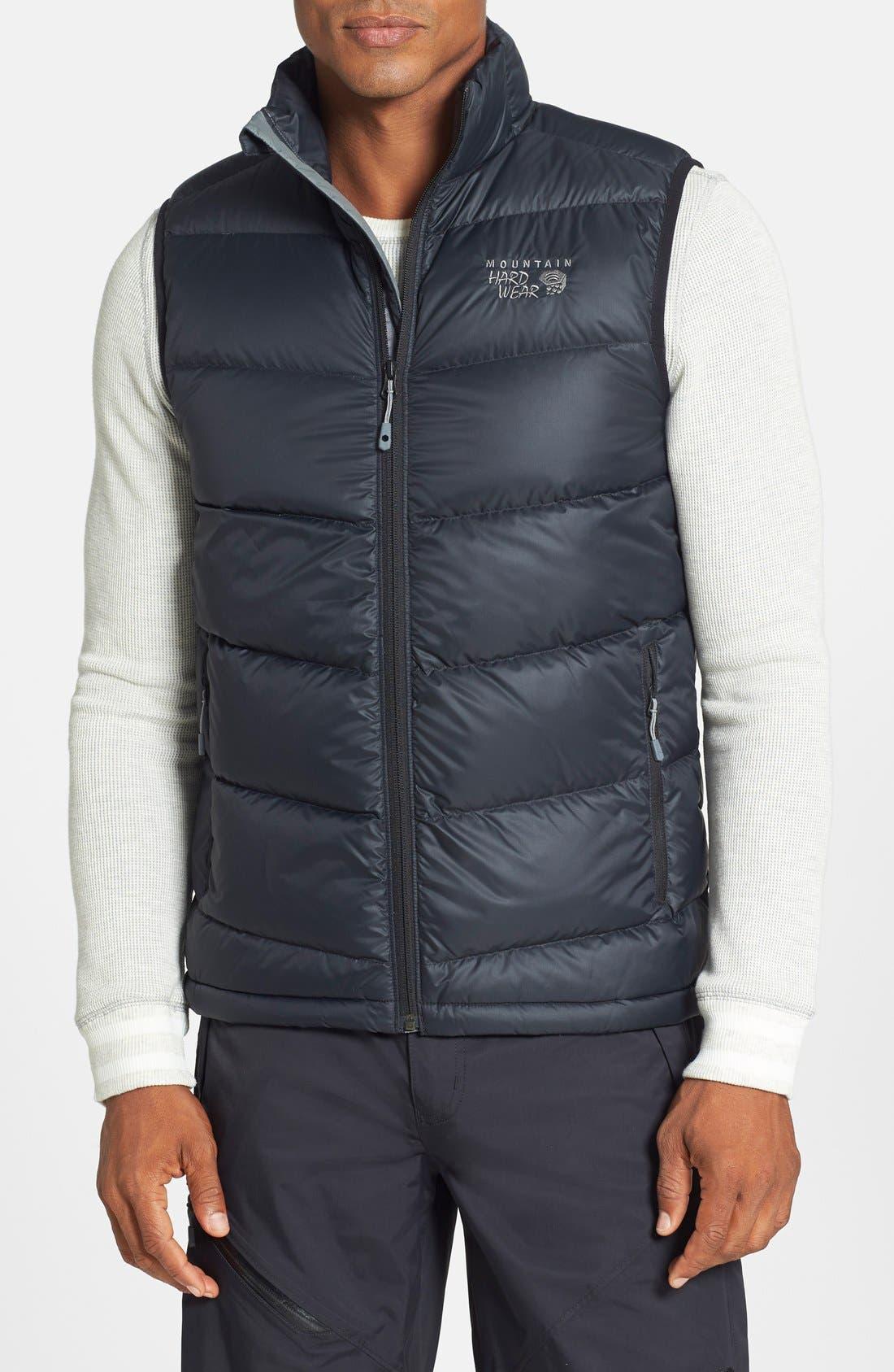 'Ratio' Water Resistant Goose Down Vest, Main, color, 001