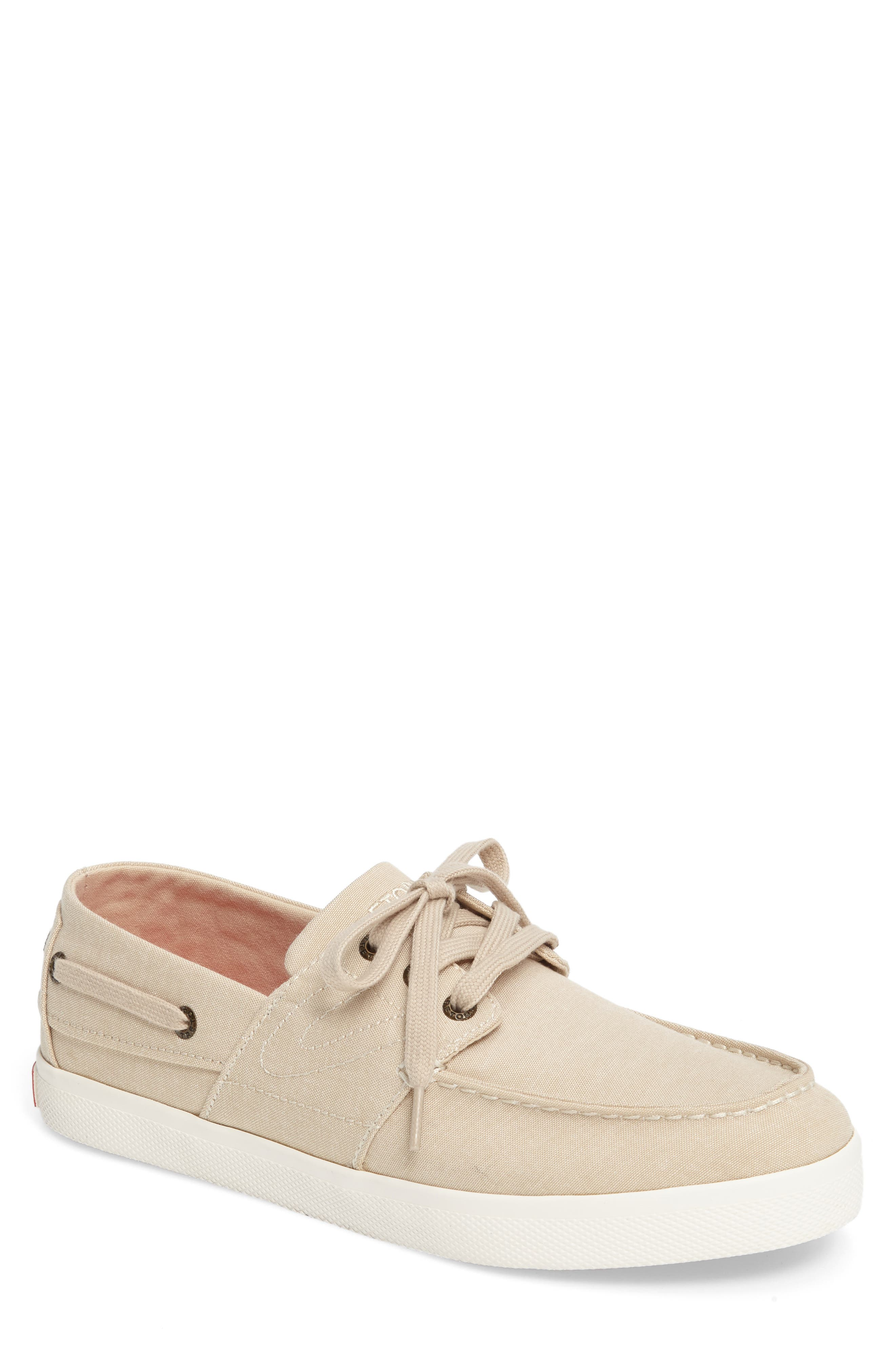 Motto Boat Shoe,                             Main thumbnail 1, color,                             OYSTER CANVAS