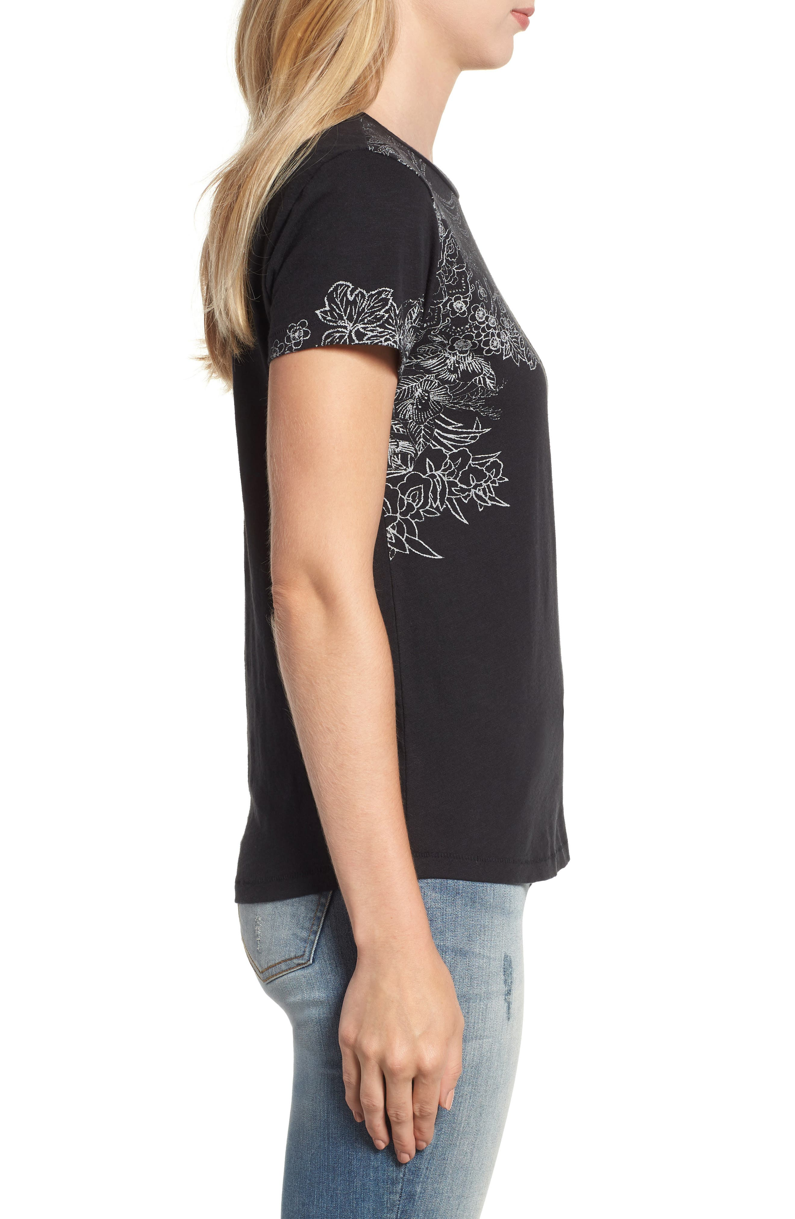 LUCKY BRAND,                             Embroidered Tee,                             Alternate thumbnail 3, color,                             001
