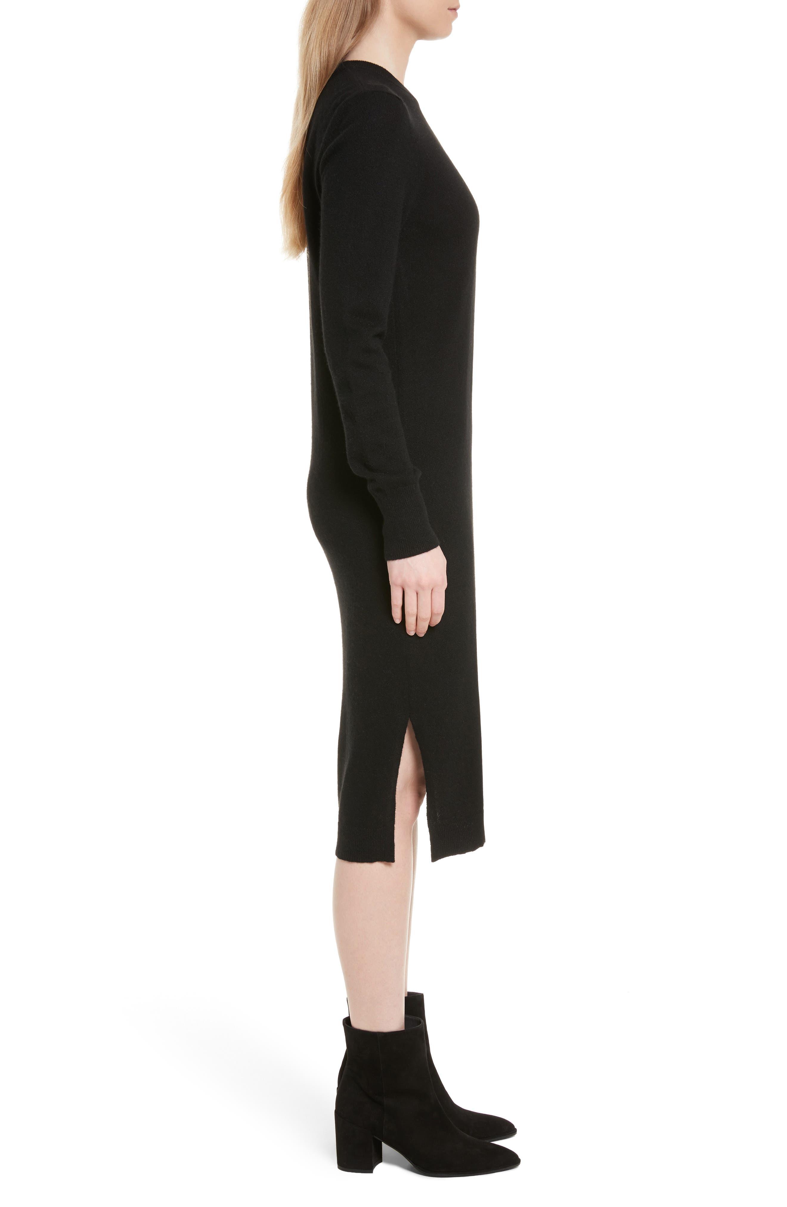 Snyder Cashmere Knit Midi Dress,                             Alternate thumbnail 3, color,                             001