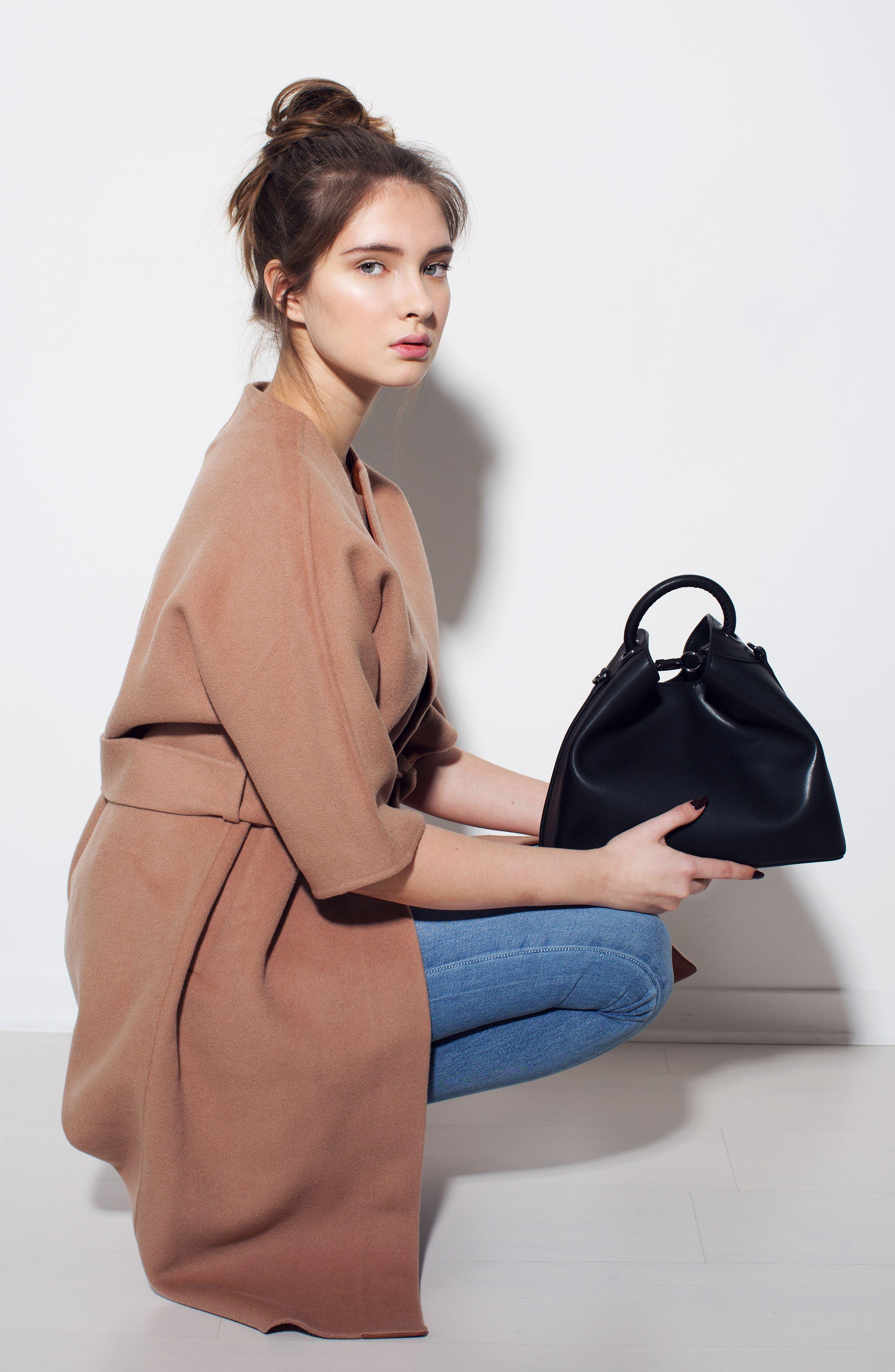 Raisin Leather Handbag,                             Alternate thumbnail 7, color,                             001