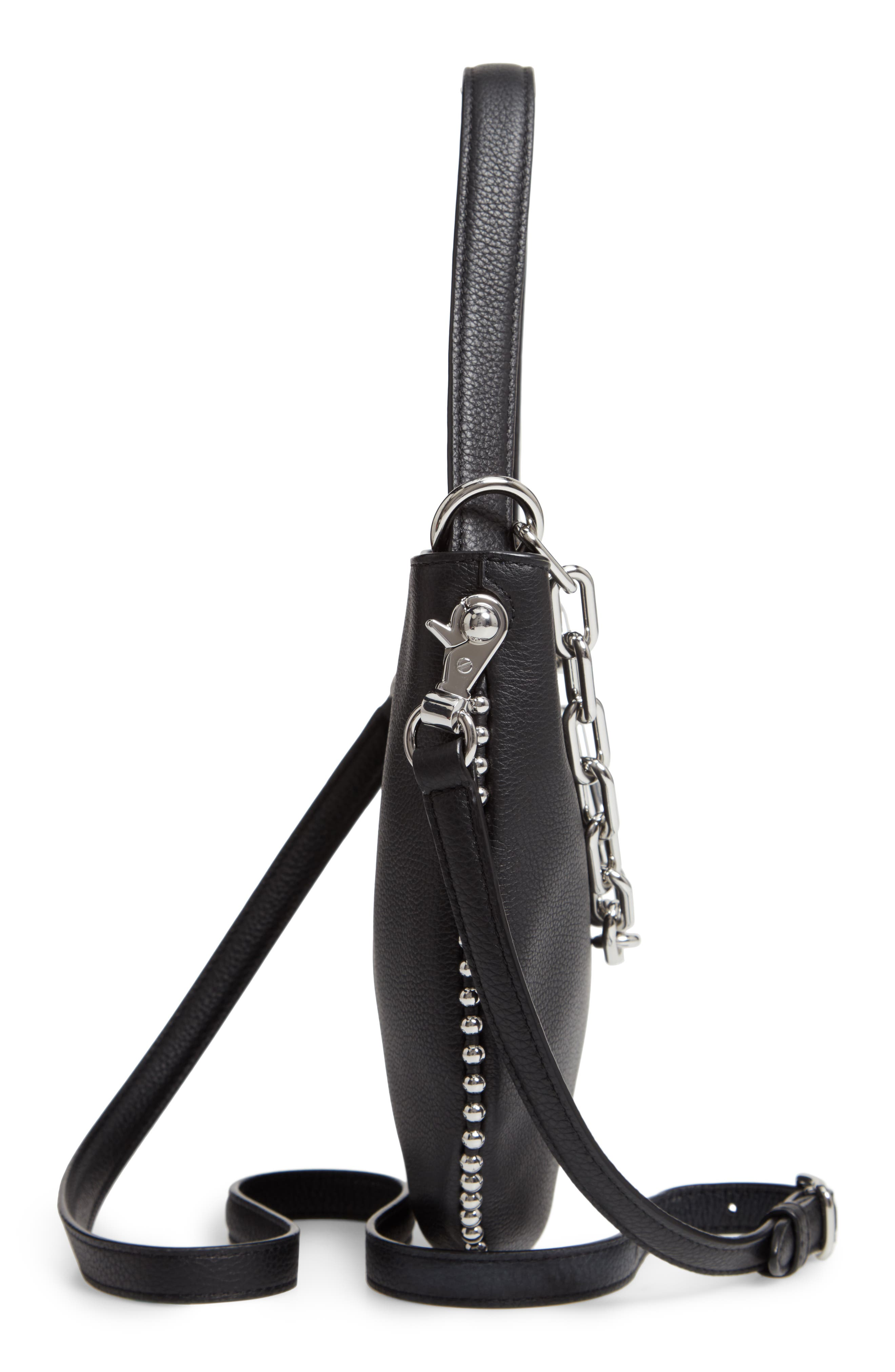 Mini Roxy Leather Bucket Bag,                             Alternate thumbnail 6, color,                             BLACK