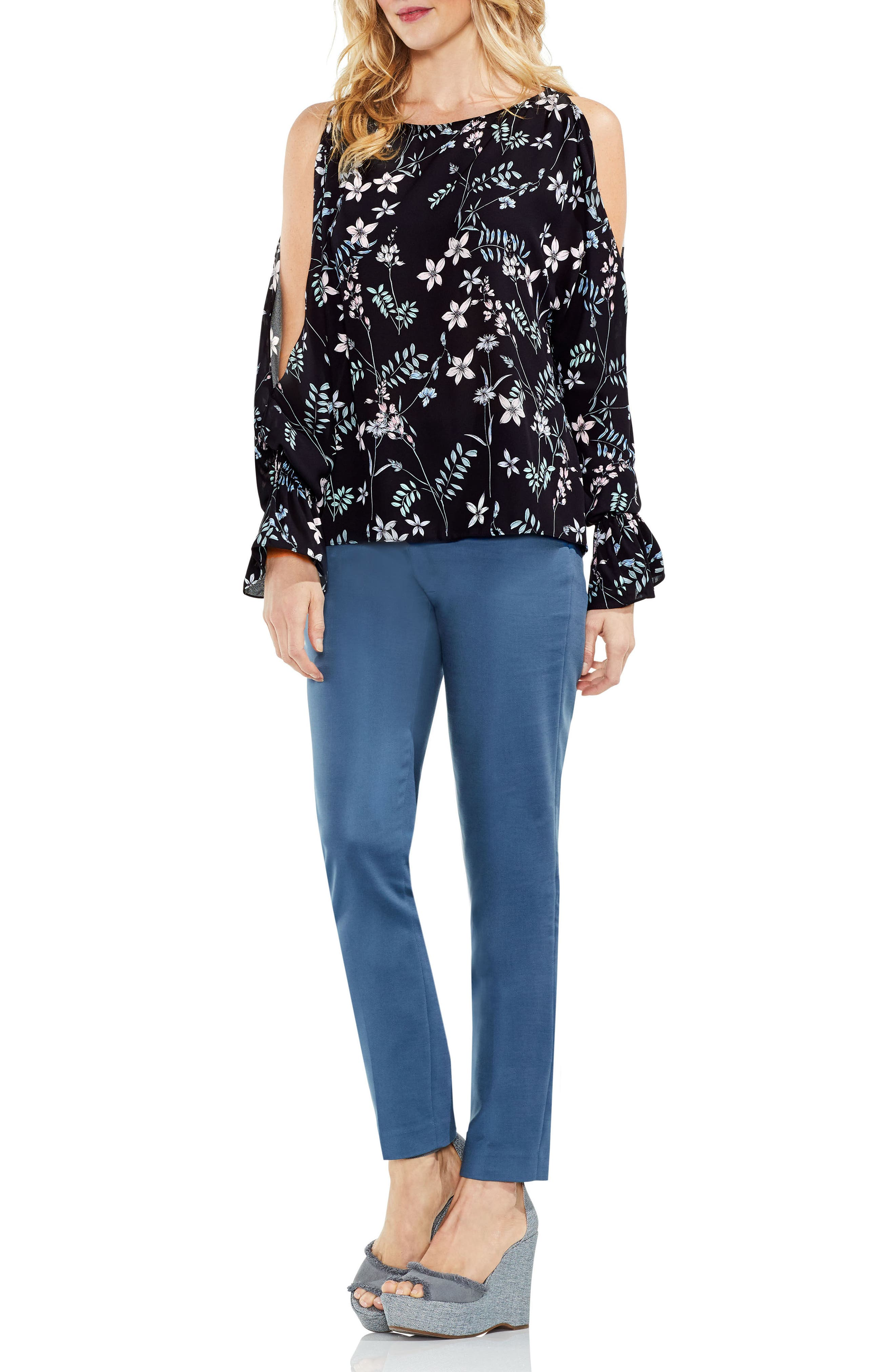 Flare Cuff Cold Shoulder Floral Top,                             Alternate thumbnail 7, color,