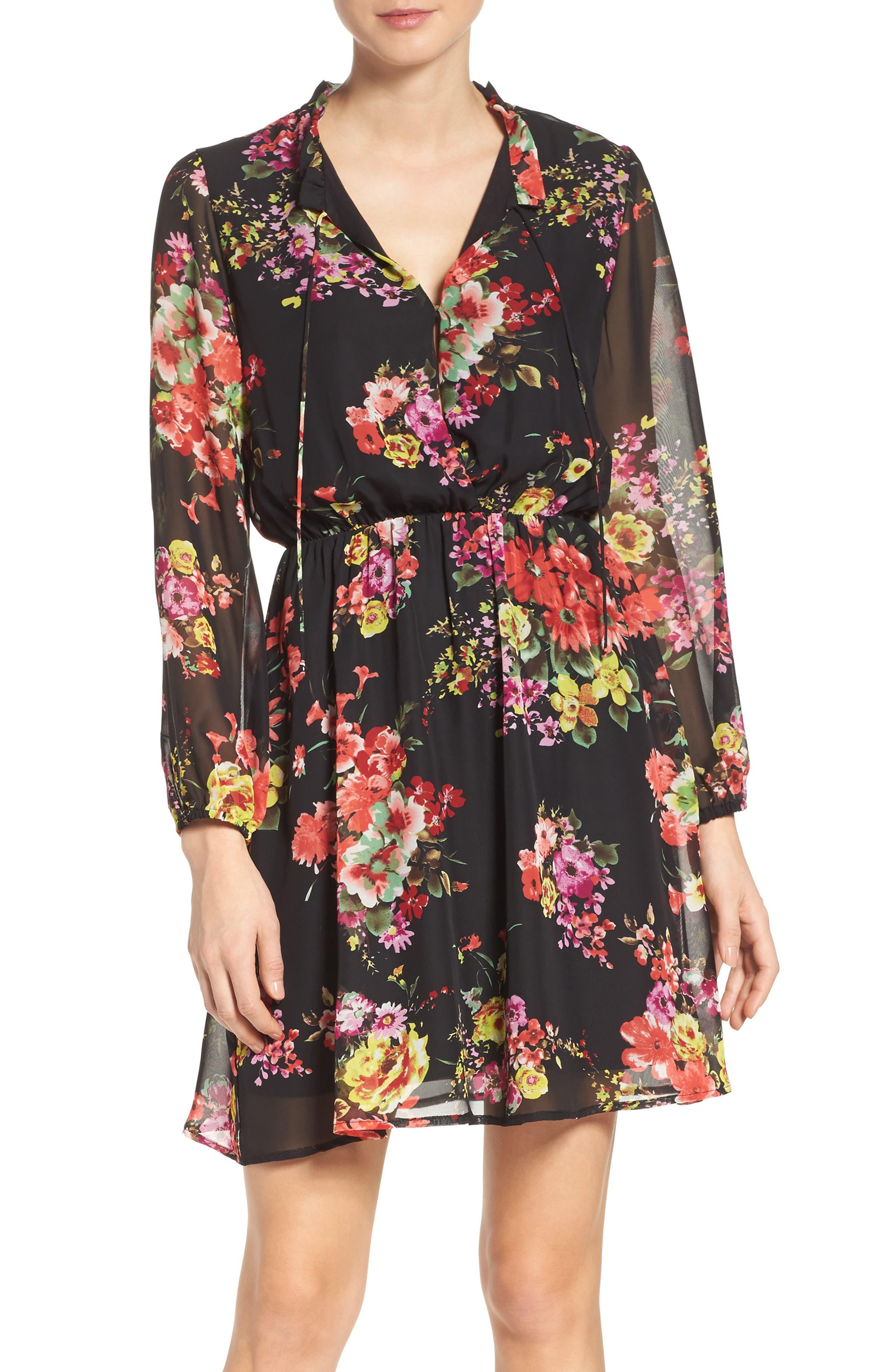 Floral Chiffon A-Line Dress,                             Main thumbnail 1, color,                             001