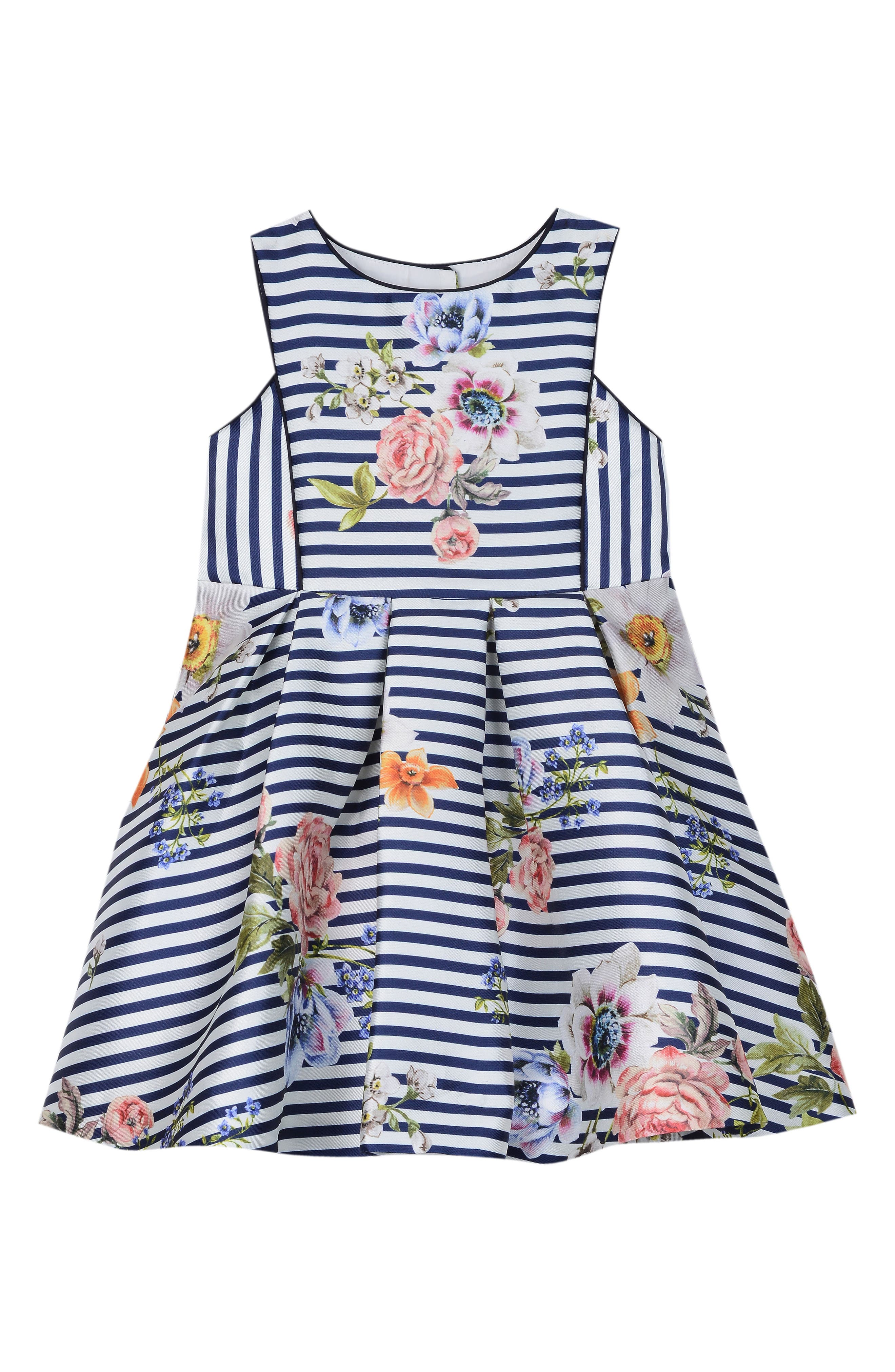 Floral Stripe Fit & Flare Dress,                             Main thumbnail 1, color,                             NAVY/ WHITE