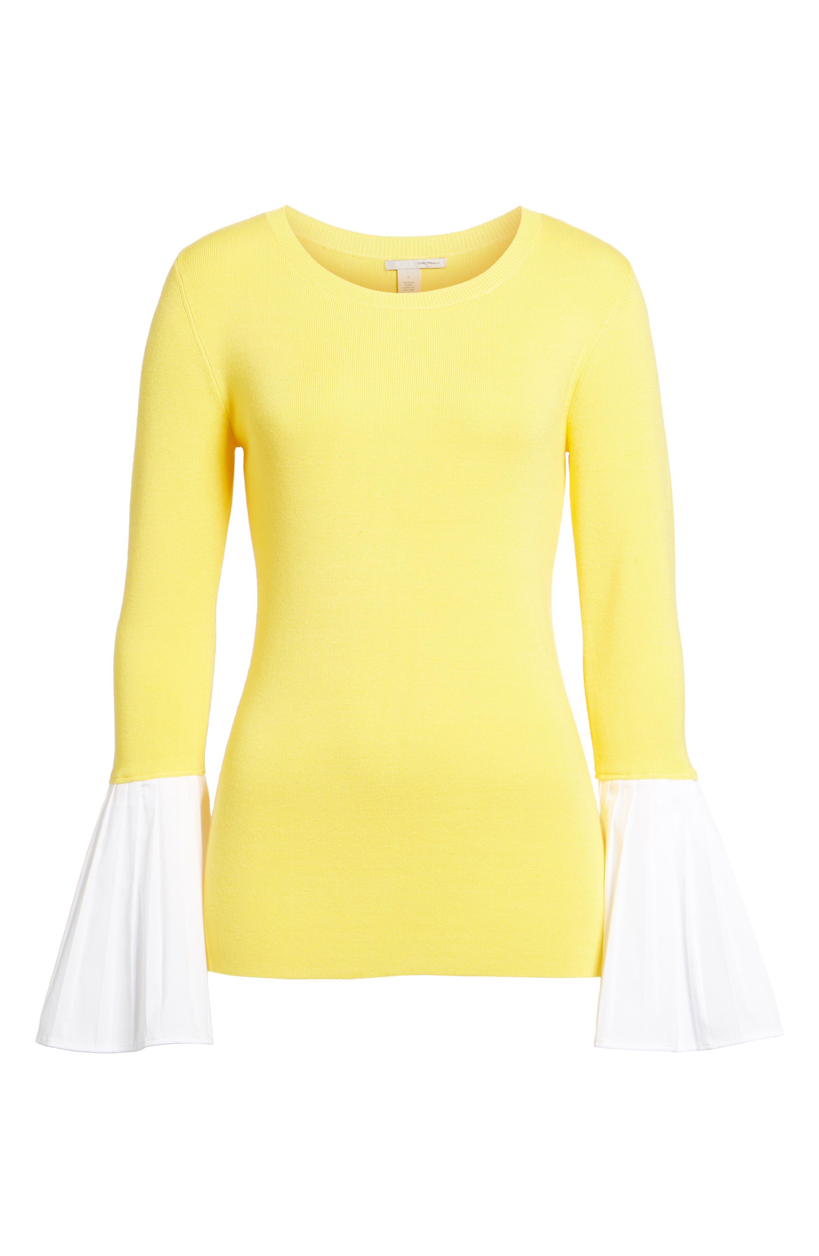 Poplin Bell Cuff Sweater,                             Alternate thumbnail 24, color,