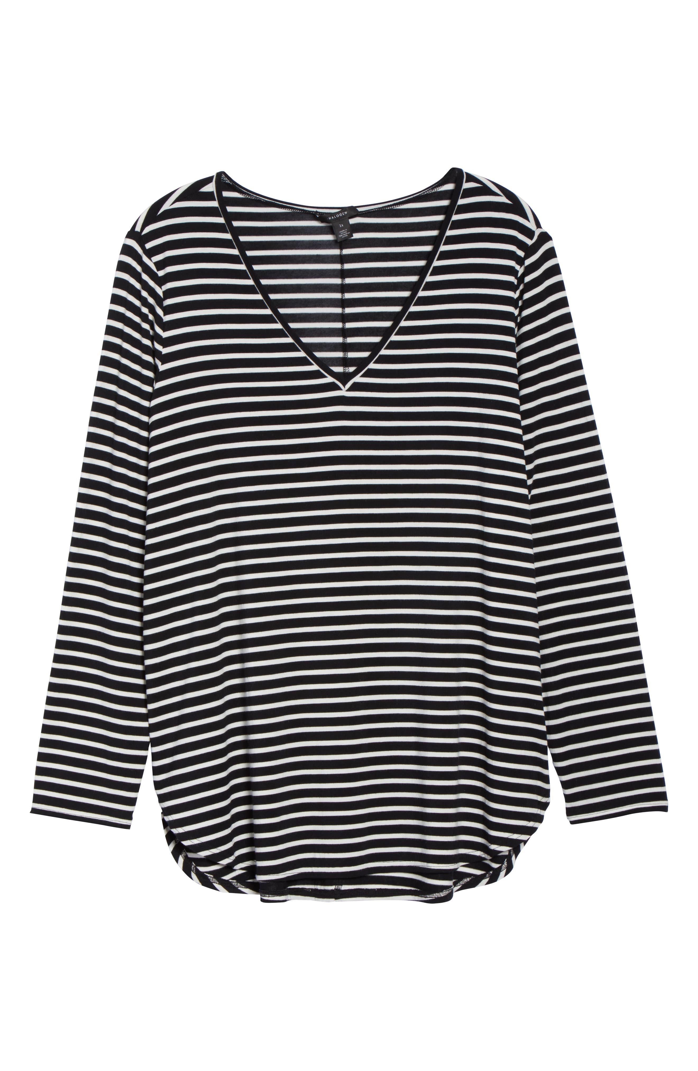 Stripe Tunic,                             Alternate thumbnail 6, color,                             BLACK- IVORY ELAINA STRIPE