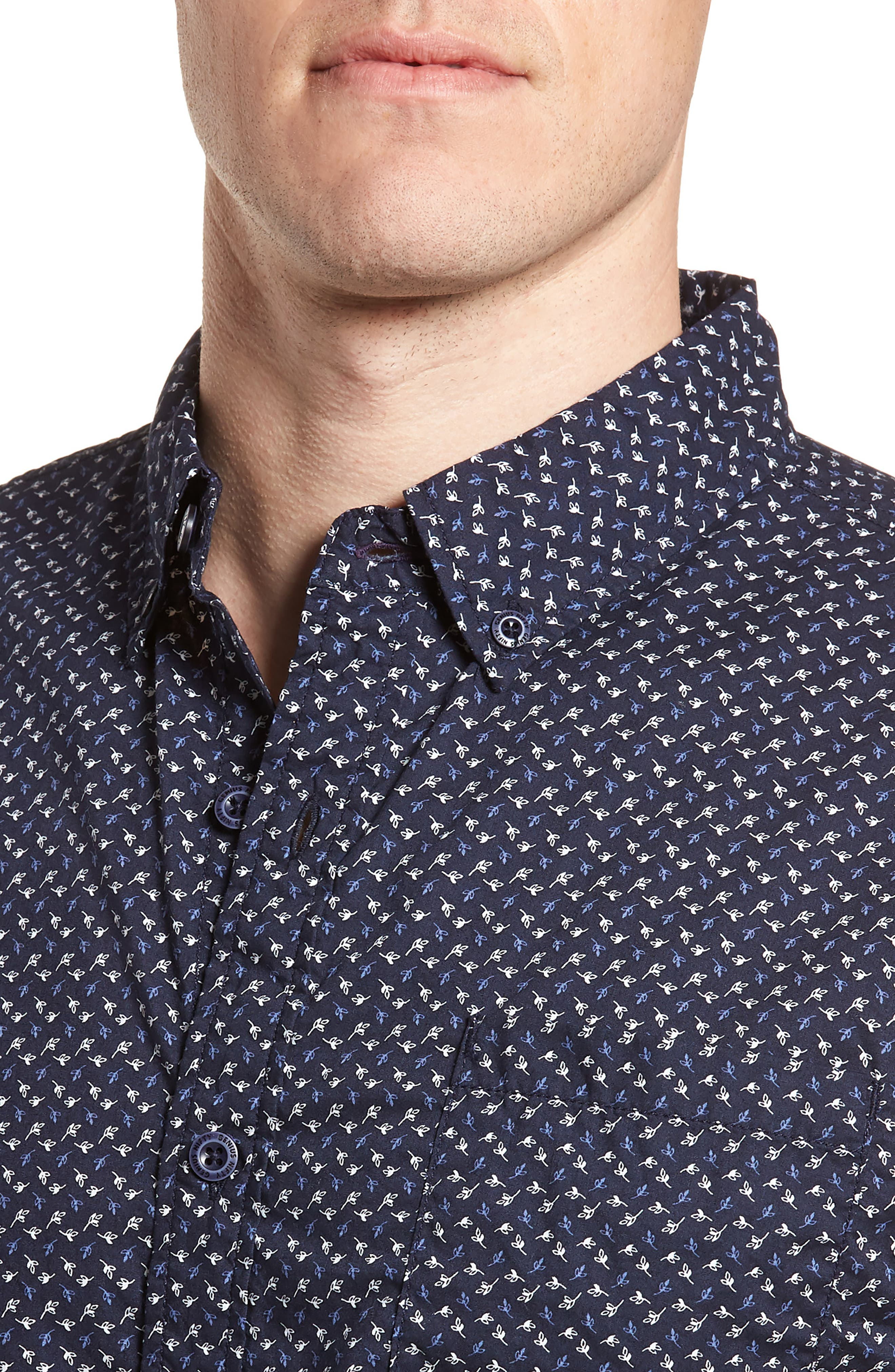 Truman Slim Fit Short Sleeve Sport Shirt,                             Alternate thumbnail 4, color,                             NAVY