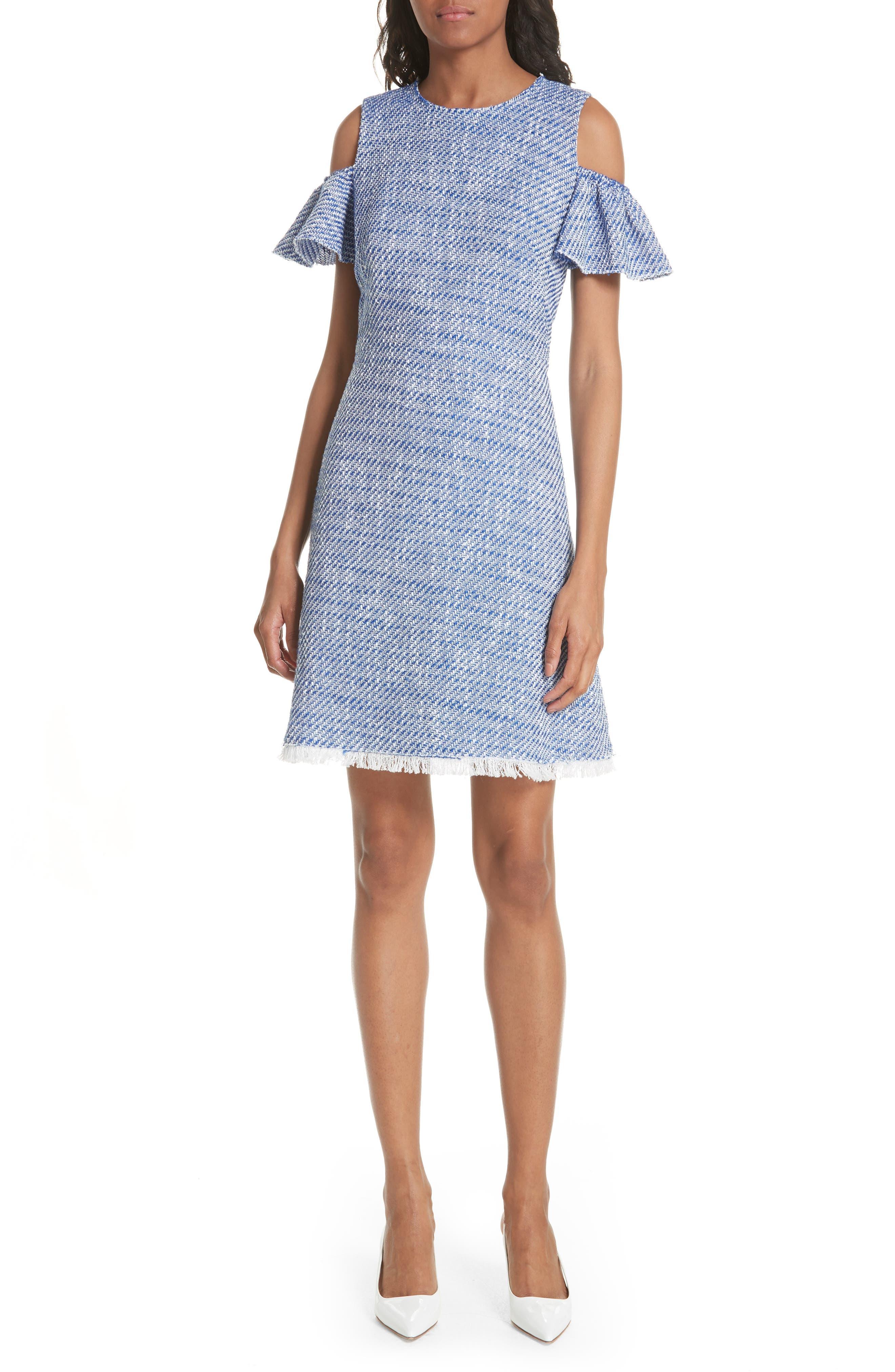 cold shoulder cotton blend tweed dress,                         Main,                         color,