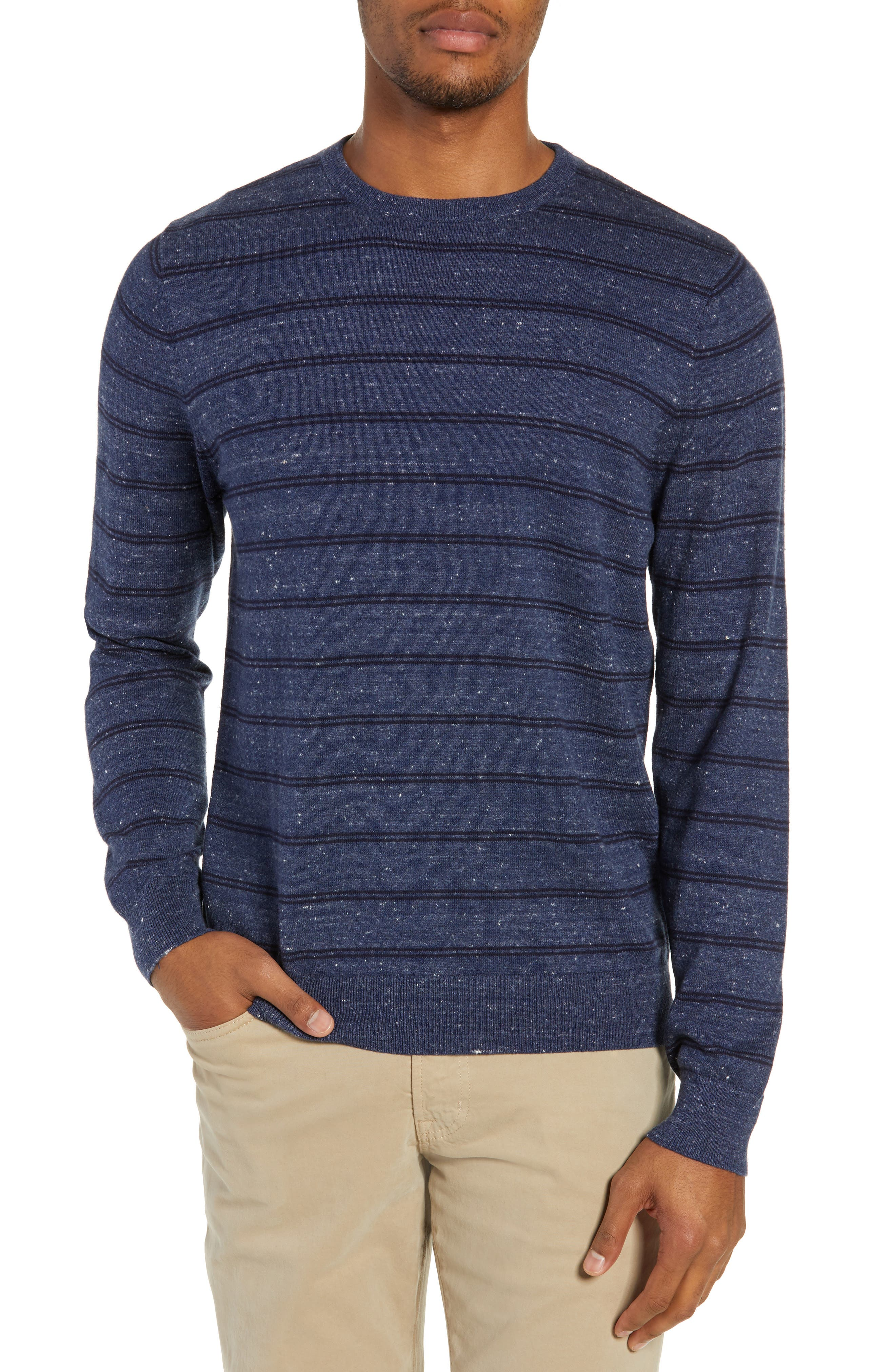 Nordstrom Shop Regular Fit Stripe Cotton & Cashmere Sweater, Blue