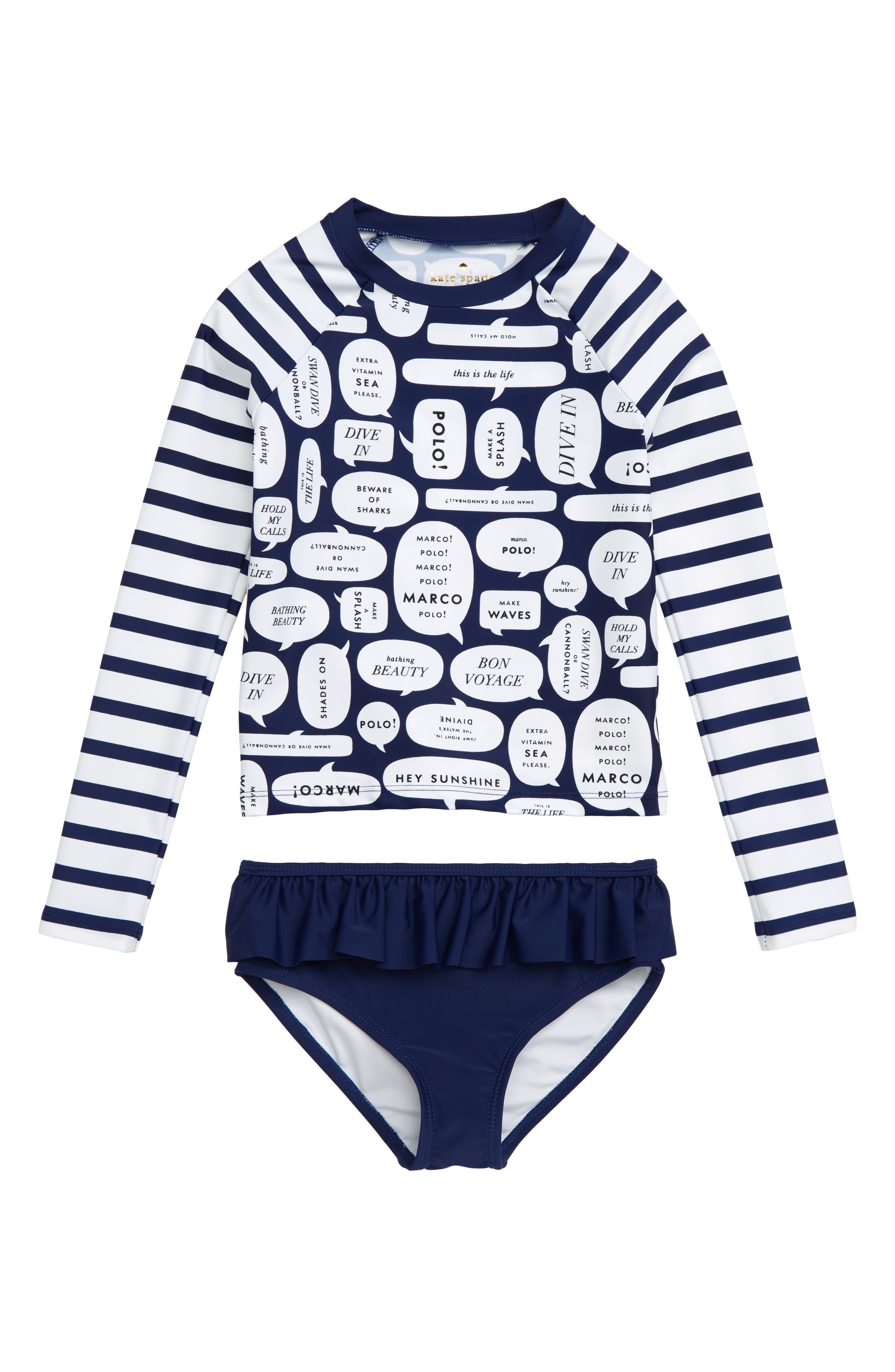 speech bubble 2-piece rashguard swimsuit,                             Main thumbnail 1, color,                             400
