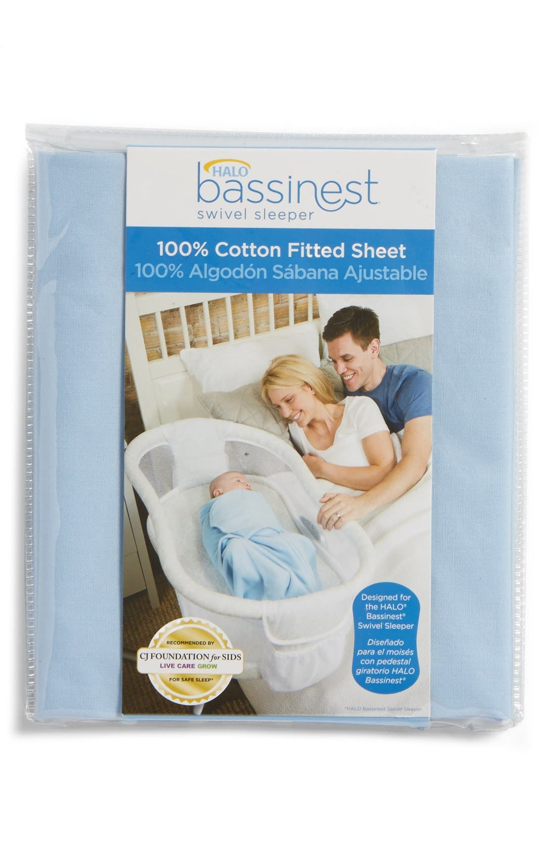 Cotton Fitted Sheet for Halo<sup>®</sup> Bassinest<sup>™</sup> Swivel Sleeper,                             Main thumbnail 1, color,                             BLUE