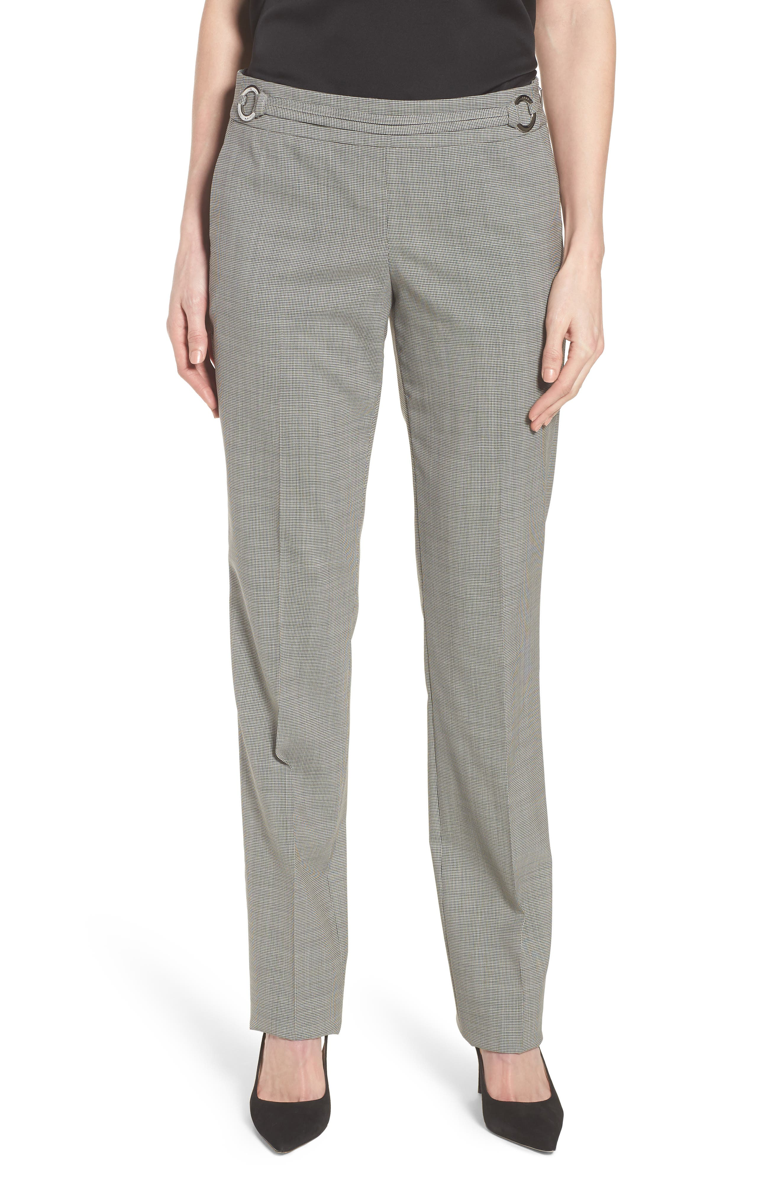 Tavilla Ring Belt Straight Leg Wool Suit Pants,                             Main thumbnail 1, color,                             006