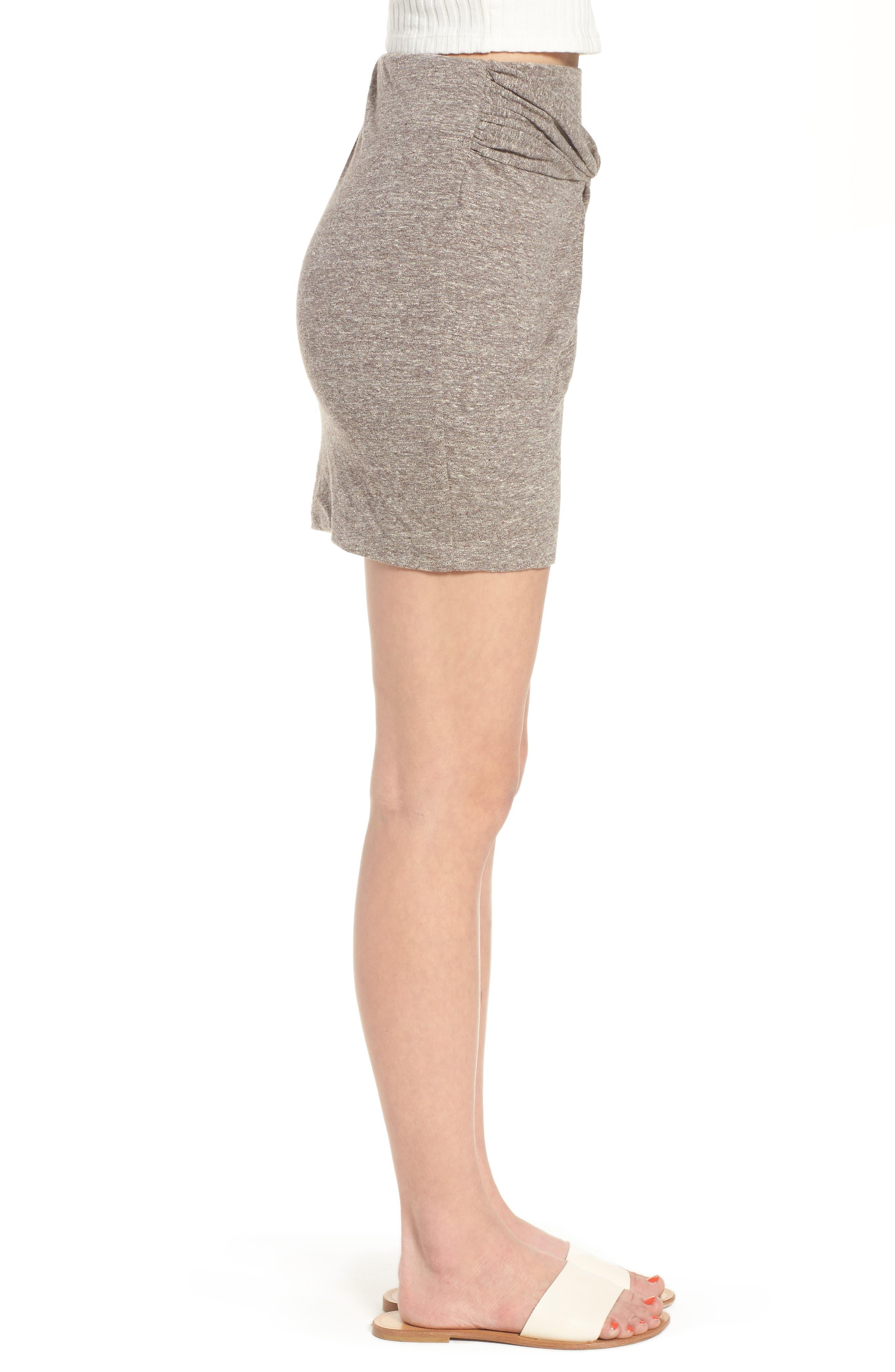 Knot Front Skirt,                             Alternate thumbnail 3, color,                             GREY MEDIUM HEATHER