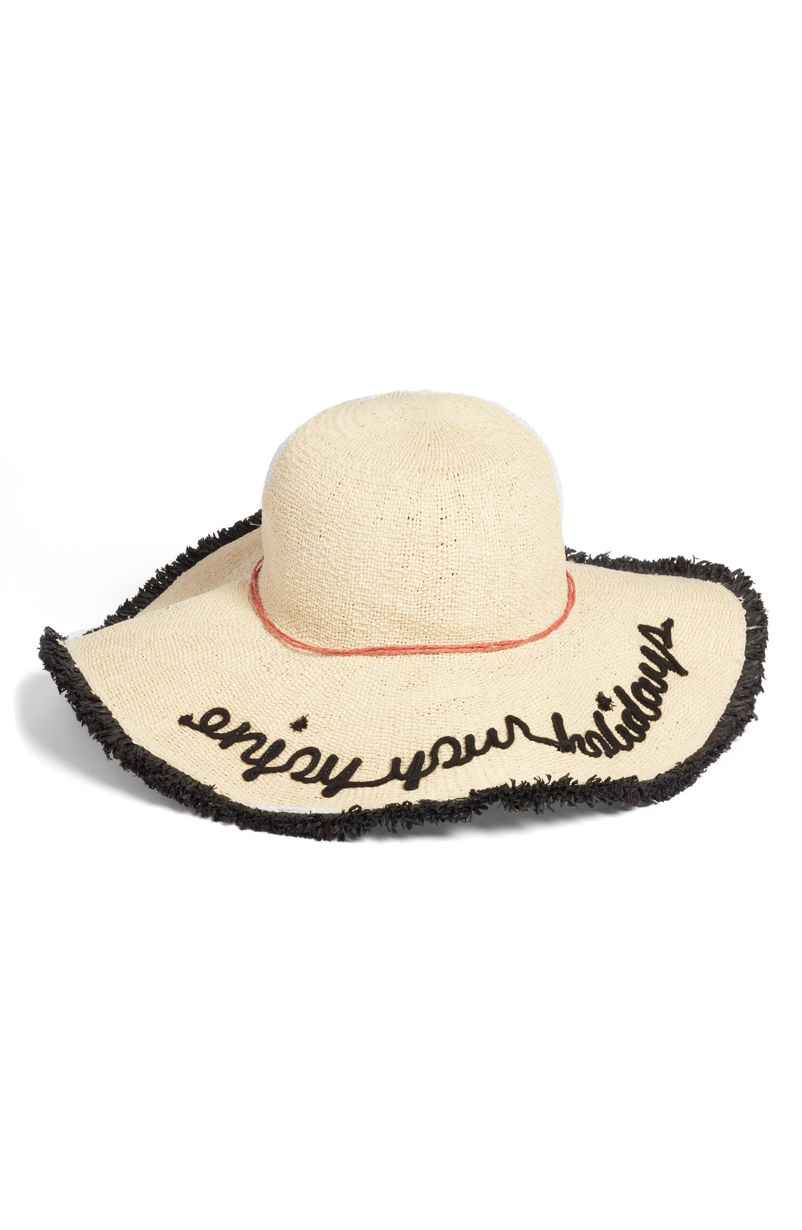 Embroidered Straw Sun Hat with Fringe,                         Main,                         color, NATURAL