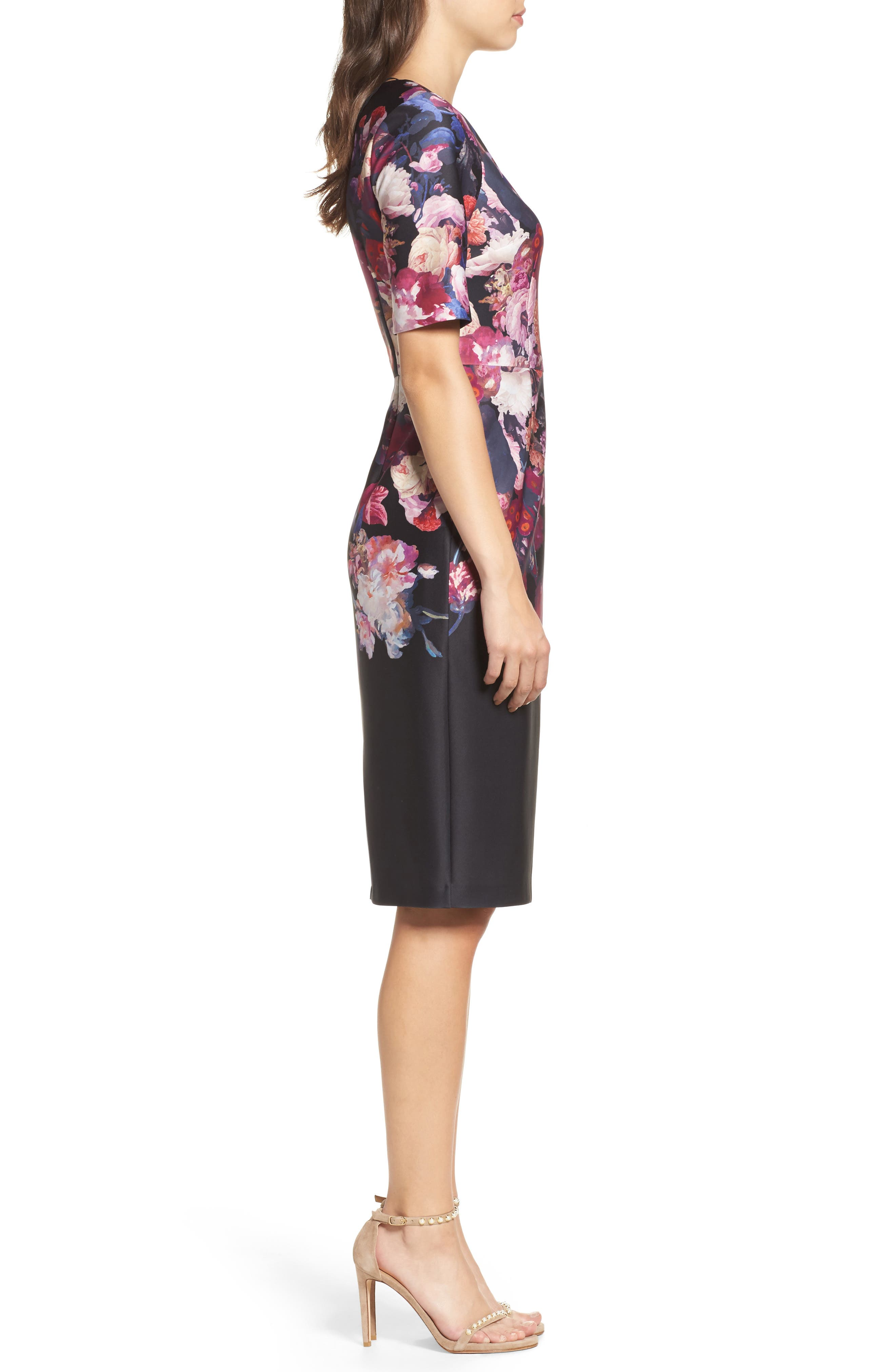 Scuba Sheath Dress,                             Alternate thumbnail 3, color,