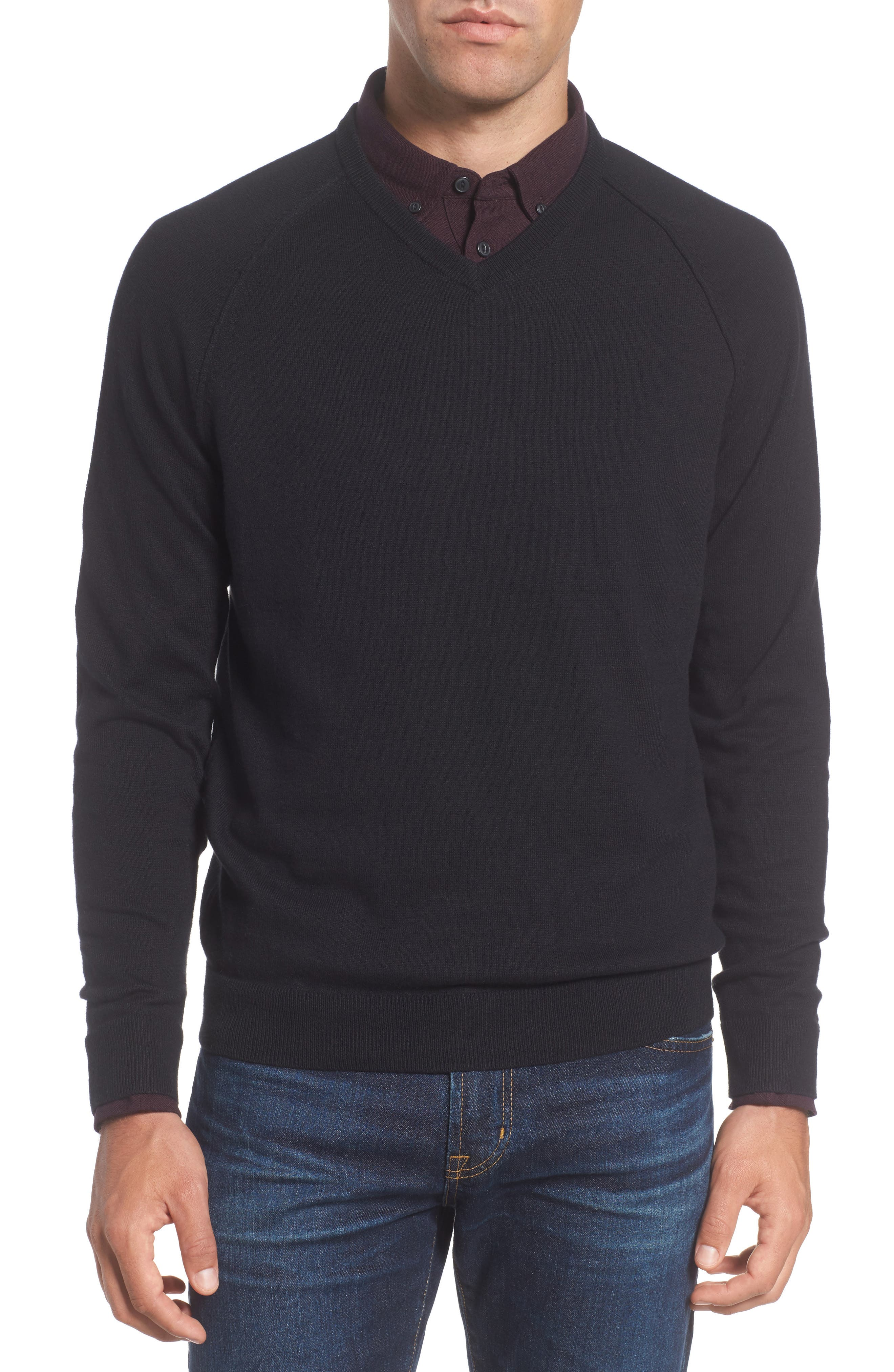 Saddle Shoulder Cotton & Cashmere V-Neck Sweater,                             Main thumbnail 1, color,