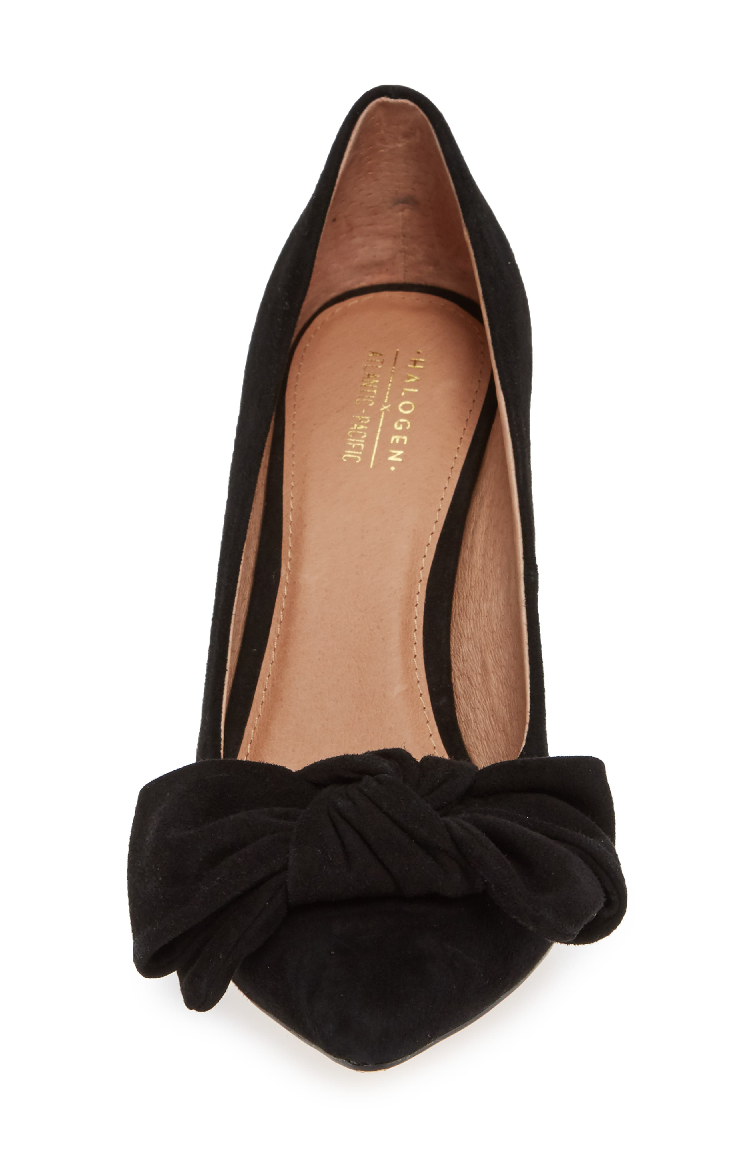x Atlantic-Pacific Georgiana Bow Pump,                             Alternate thumbnail 6, color,                             BLACK SUEDE