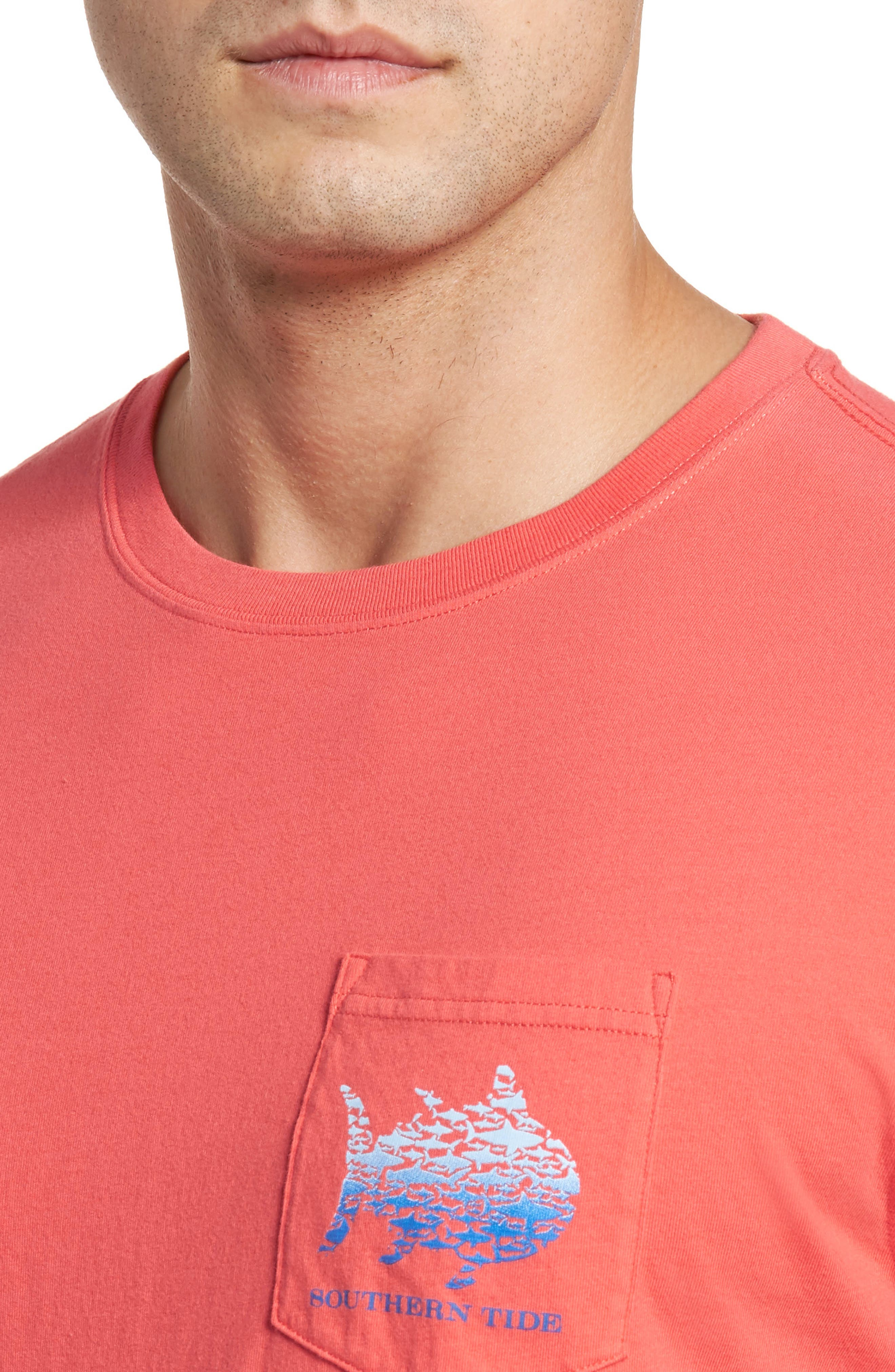 School Of Sharks Crewneck Cotton T-Shirt,                             Alternate thumbnail 4, color,                             682