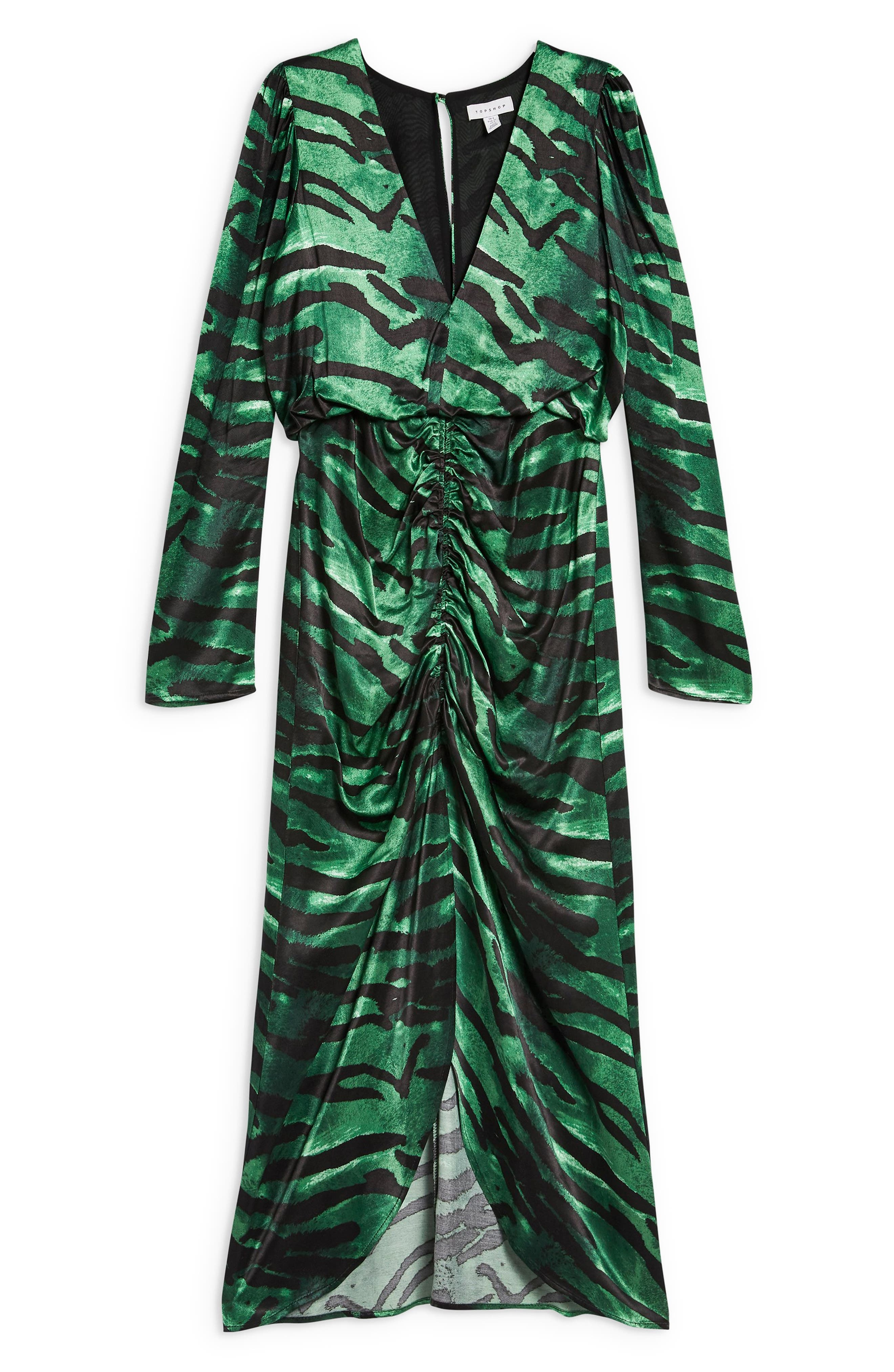 Ruched Long Sleeve Dress,                             Alternate thumbnail 6, color,                             GREEN MULTI