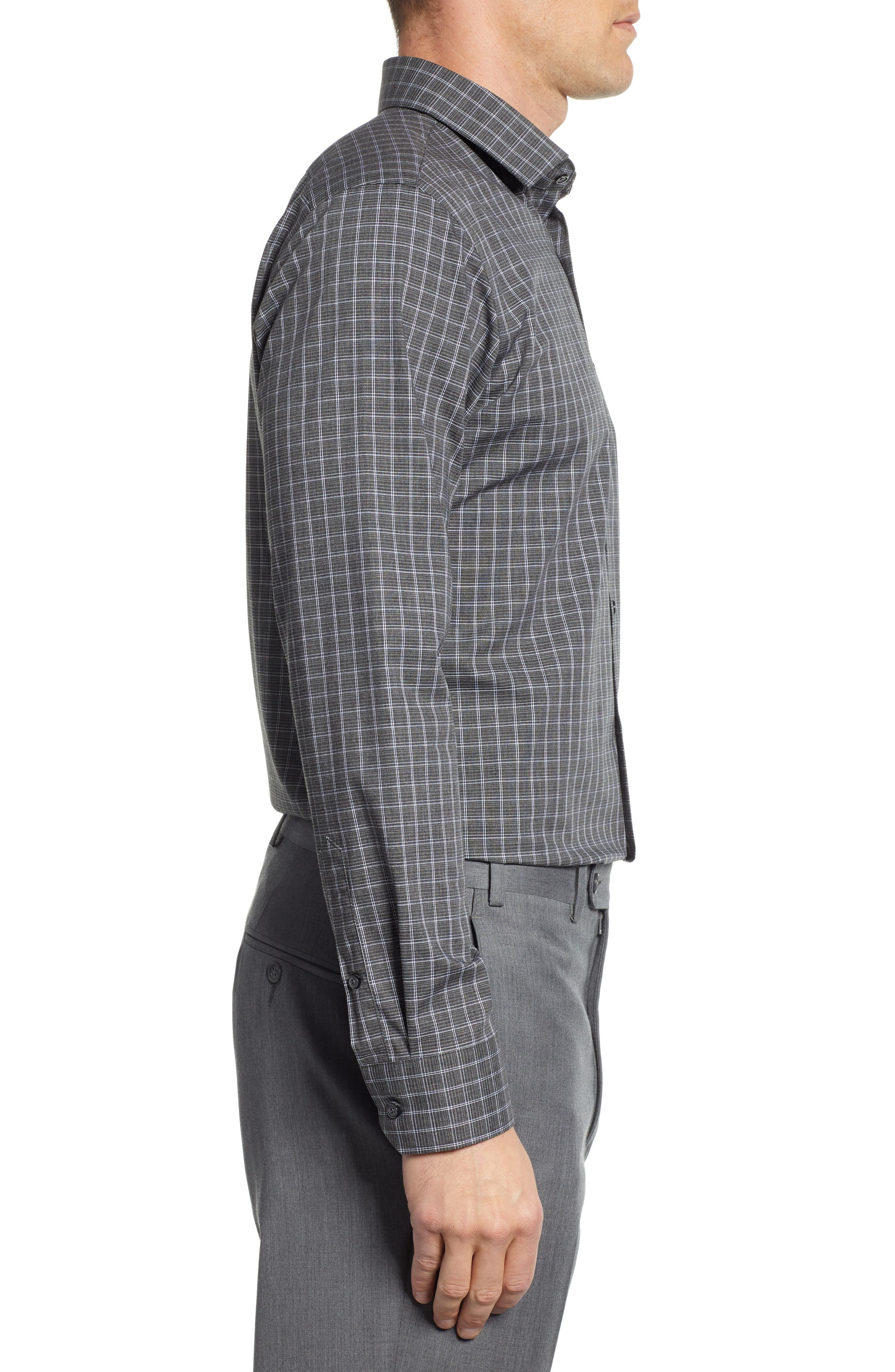 Trim Fit Non-Iron Check Dress Shirt,                             Alternate thumbnail 4, color,                             GREY ONYX