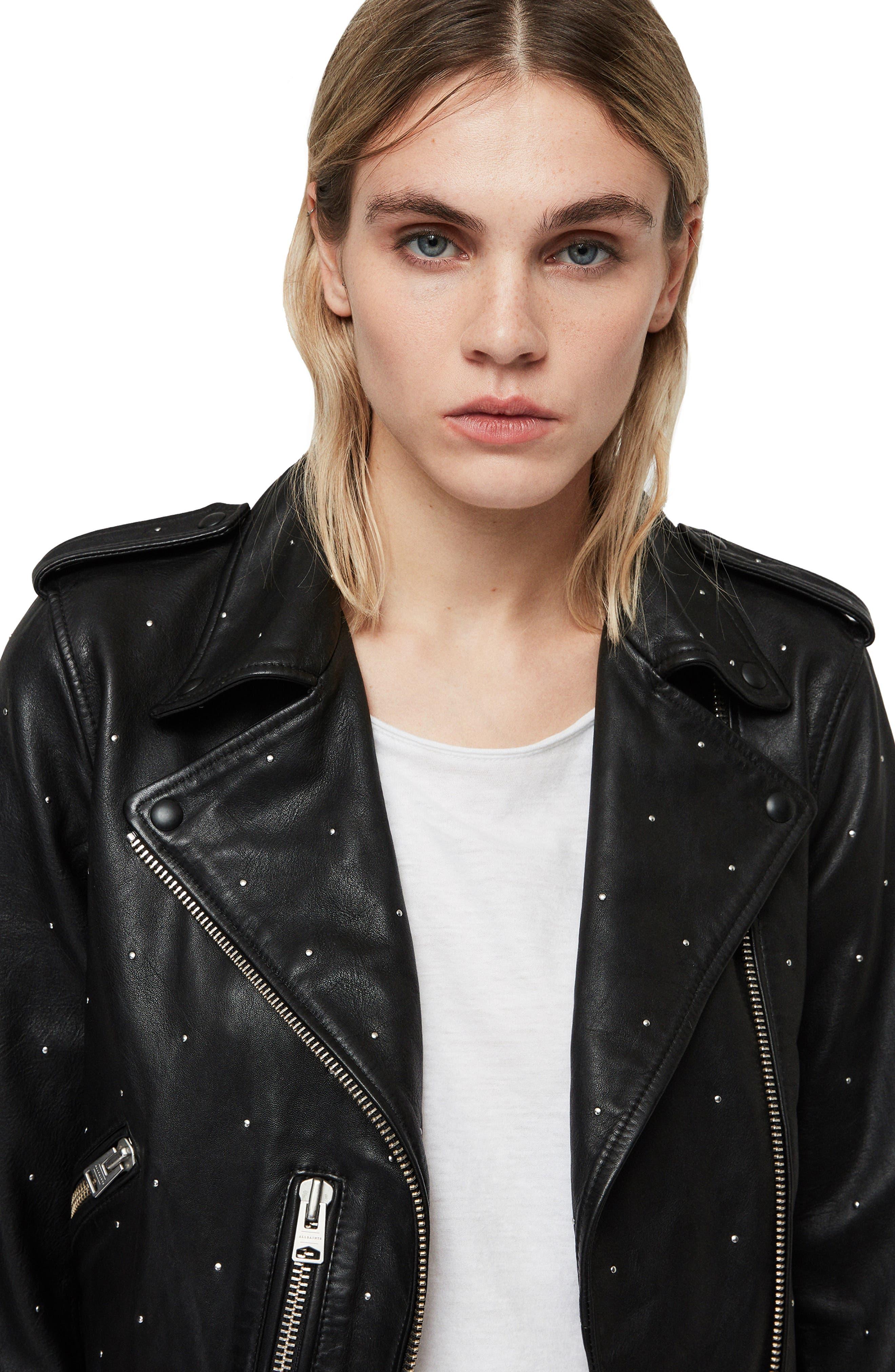 Balfern Studded Leather Biker Jacket,                             Alternate thumbnail 5, color,                             BLACK