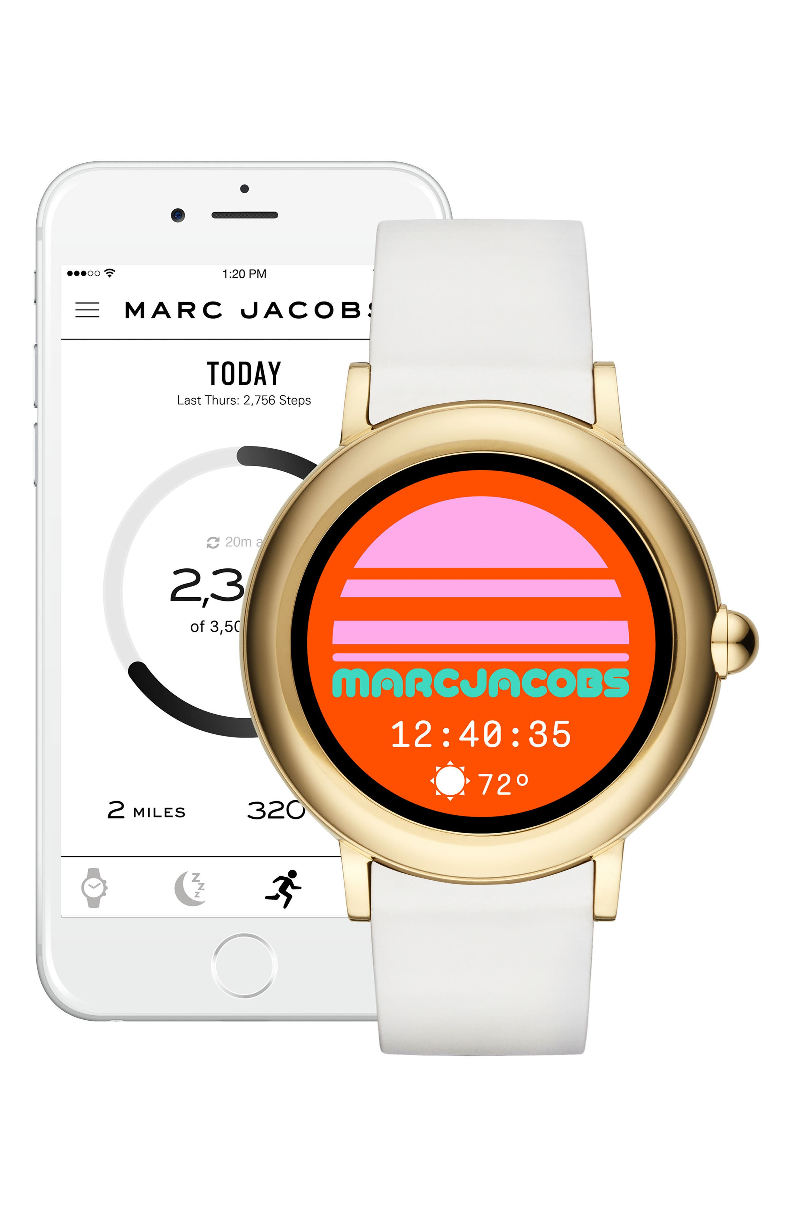 Riley Silcone Strap Smart Watch, 44mm,                             Alternate thumbnail 5, color,                             WHITE/ GOLD
