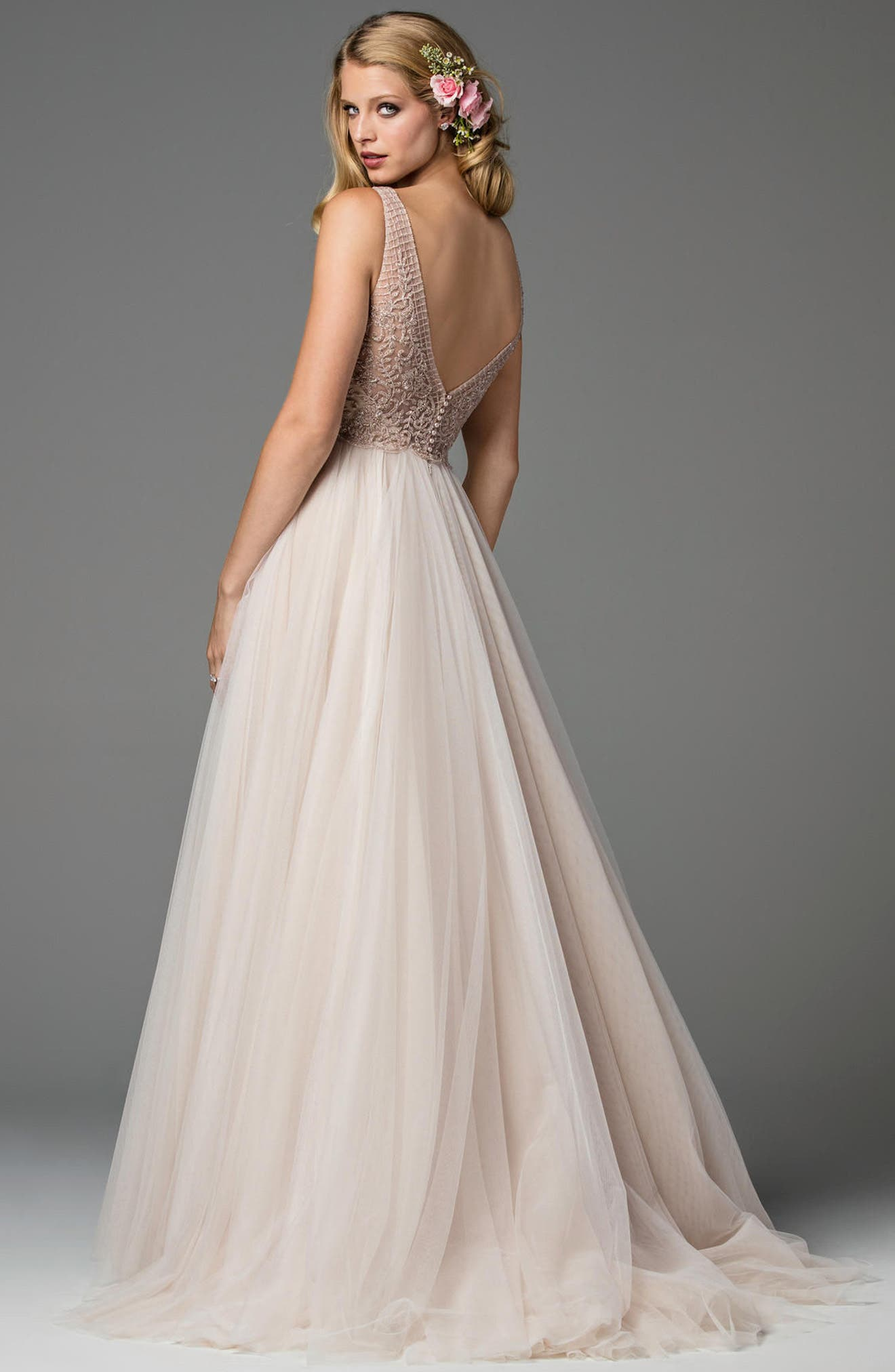 Ora Strapless Tulle Gown,                             Alternate thumbnail 2, color,                             NUOVO ROSE