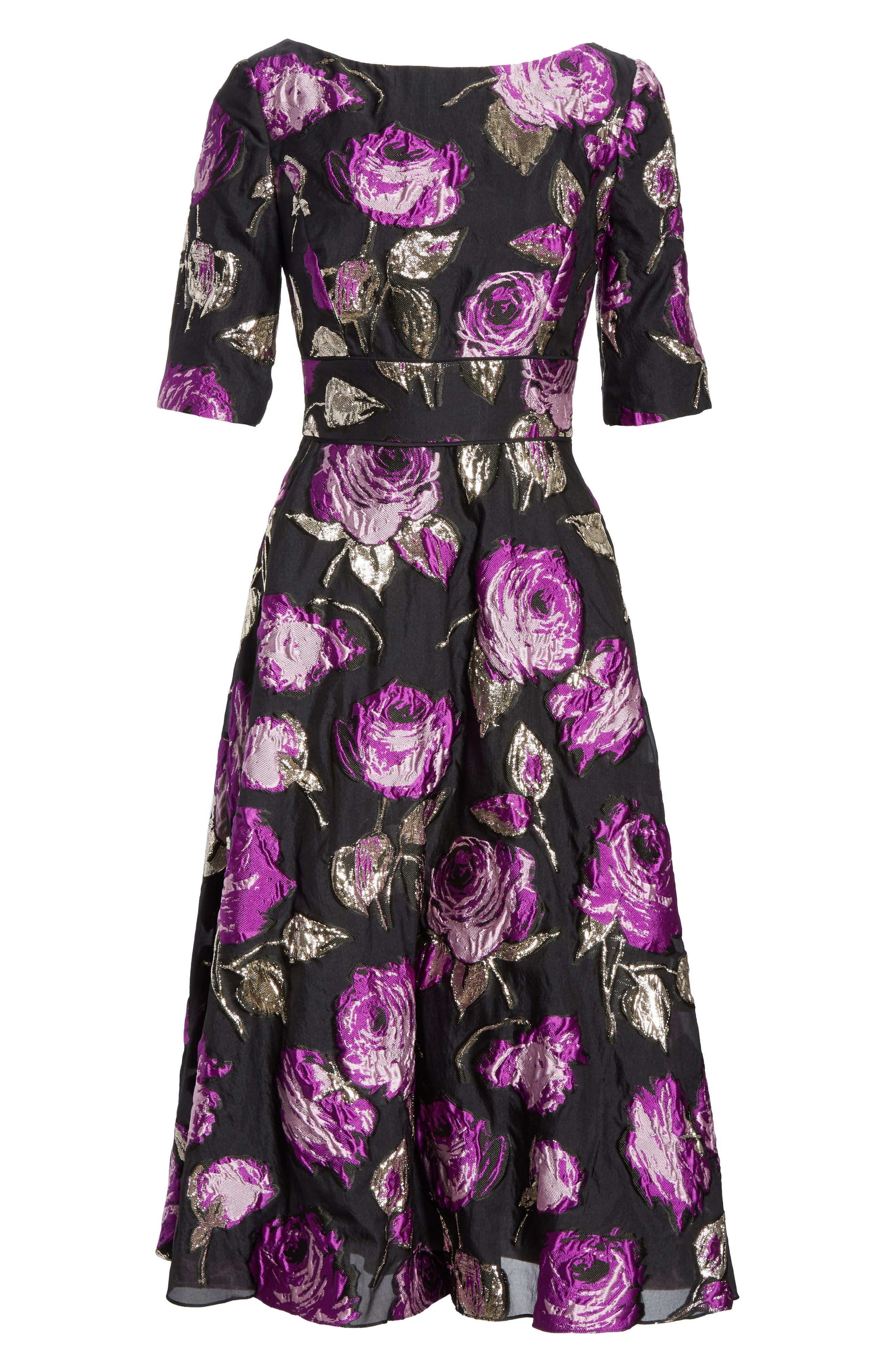 Metallic Floral Fil Coupé Fit & Flare Dress,                             Alternate thumbnail 6, color,                             LAVENDER/ BLACK