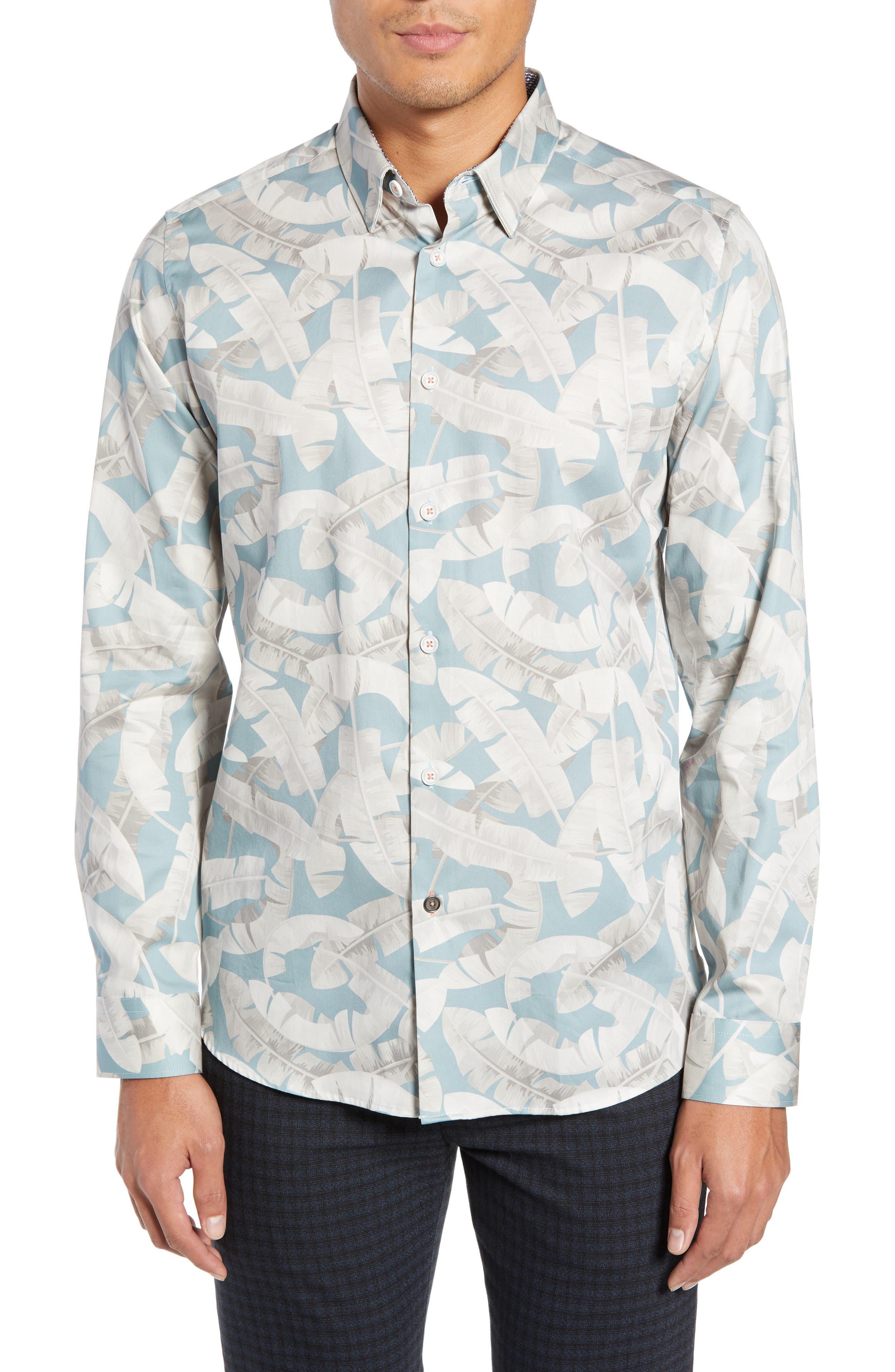 Ramsey Banana Leaf Print Shirt,                         Main,                         color, BLUE