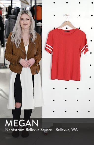 Stripe Sleeve Cotton Blend Athletic Tee, sales video thumbnail