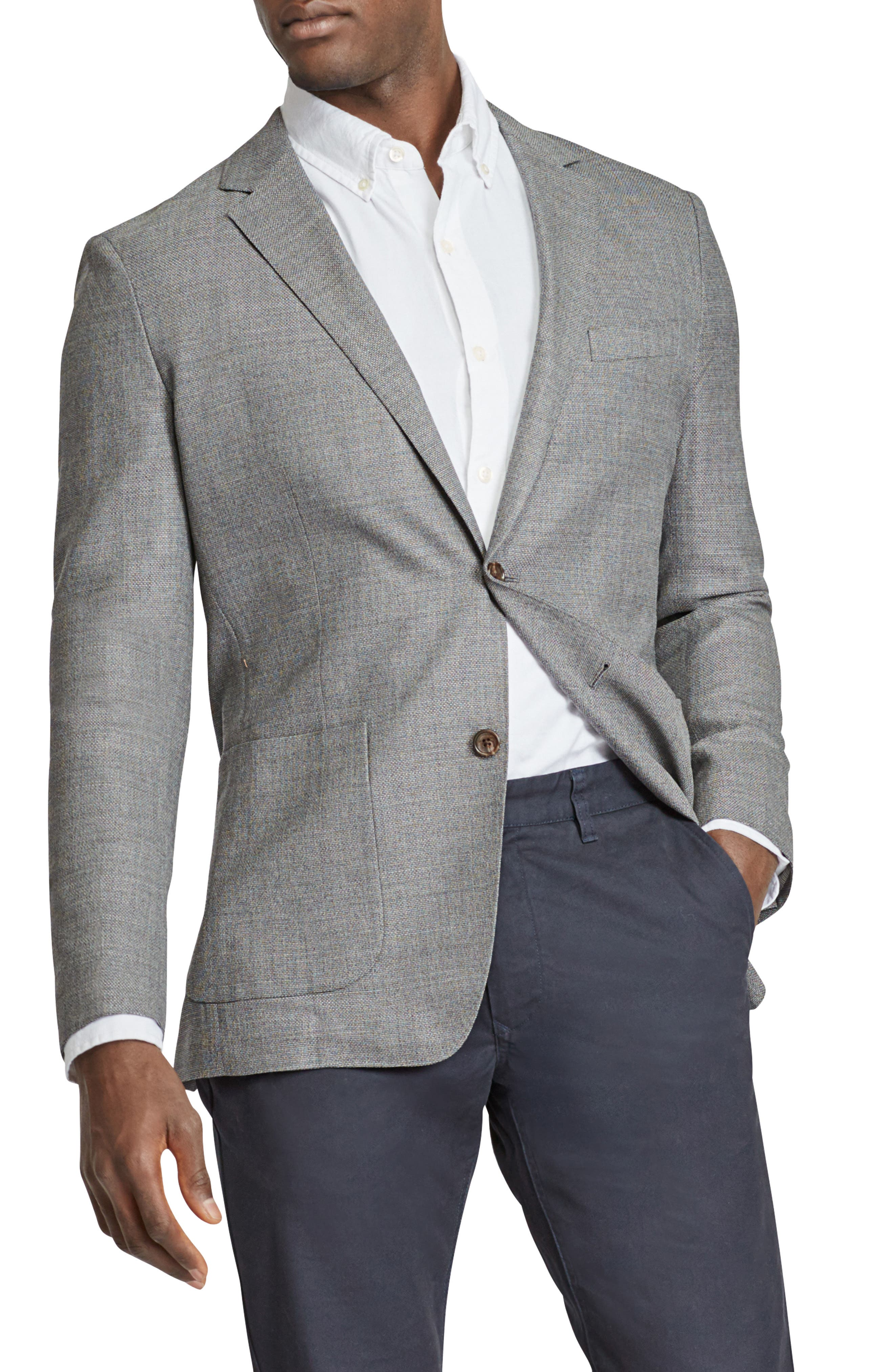 Trim Fit Wool Sport Coat,                         Main,                         color, MID GREY