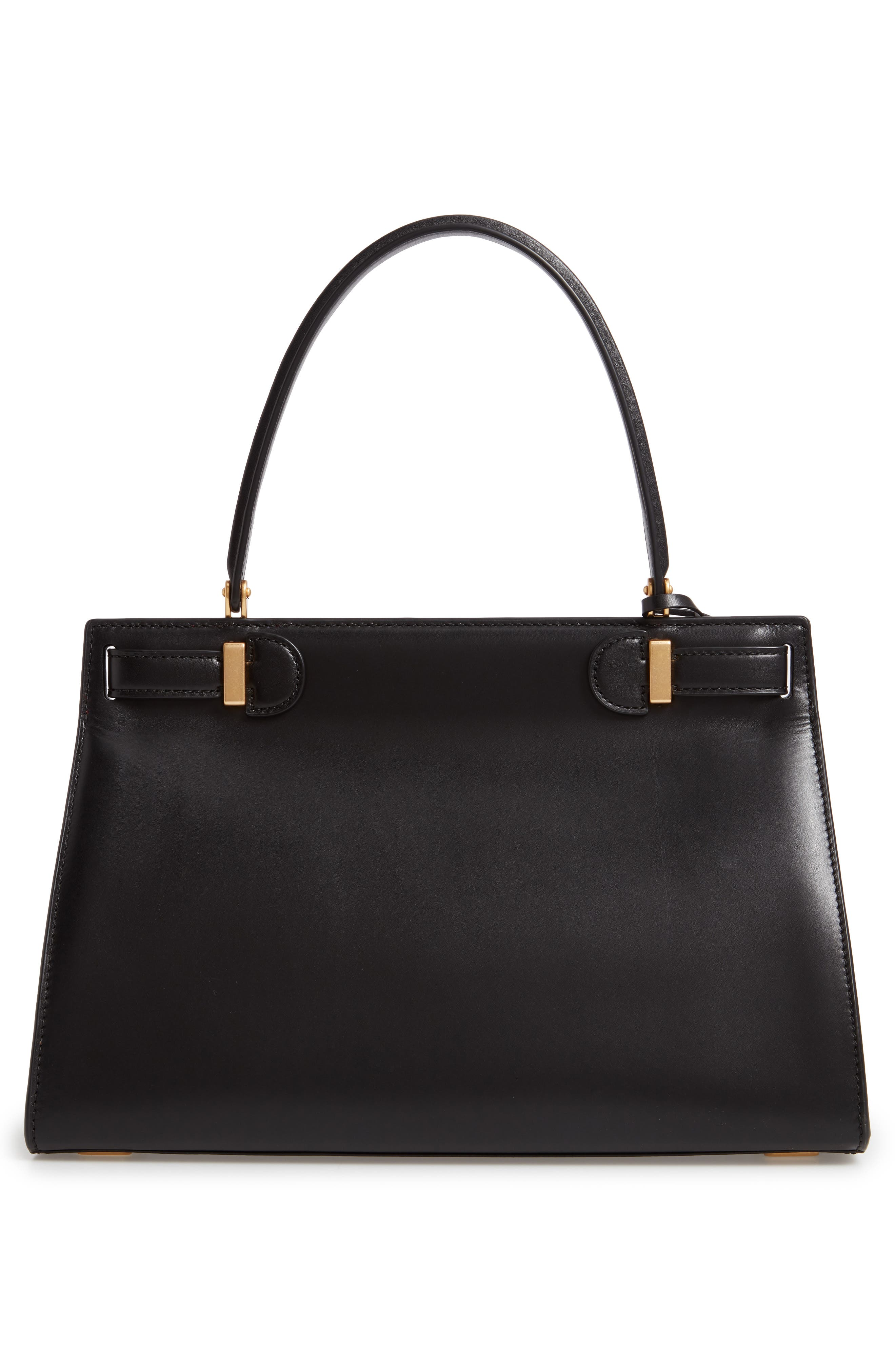 Lee Radziwill Small Leather Satchel,                             Alternate thumbnail 3, color,                             BLACK