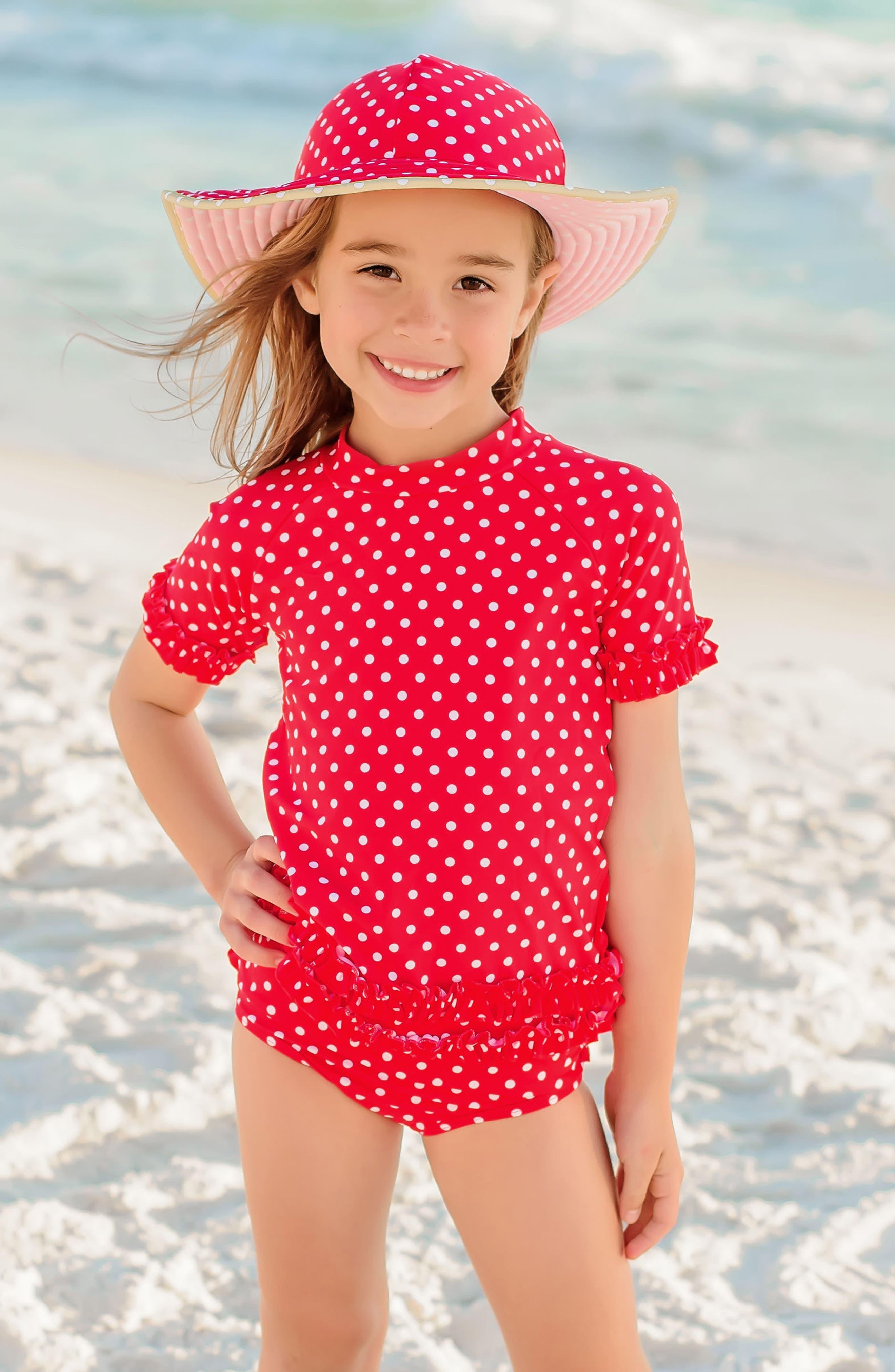 Two-Piece Rashguard Swimsuit & Hat Set,                             Alternate thumbnail 3, color,                             RED