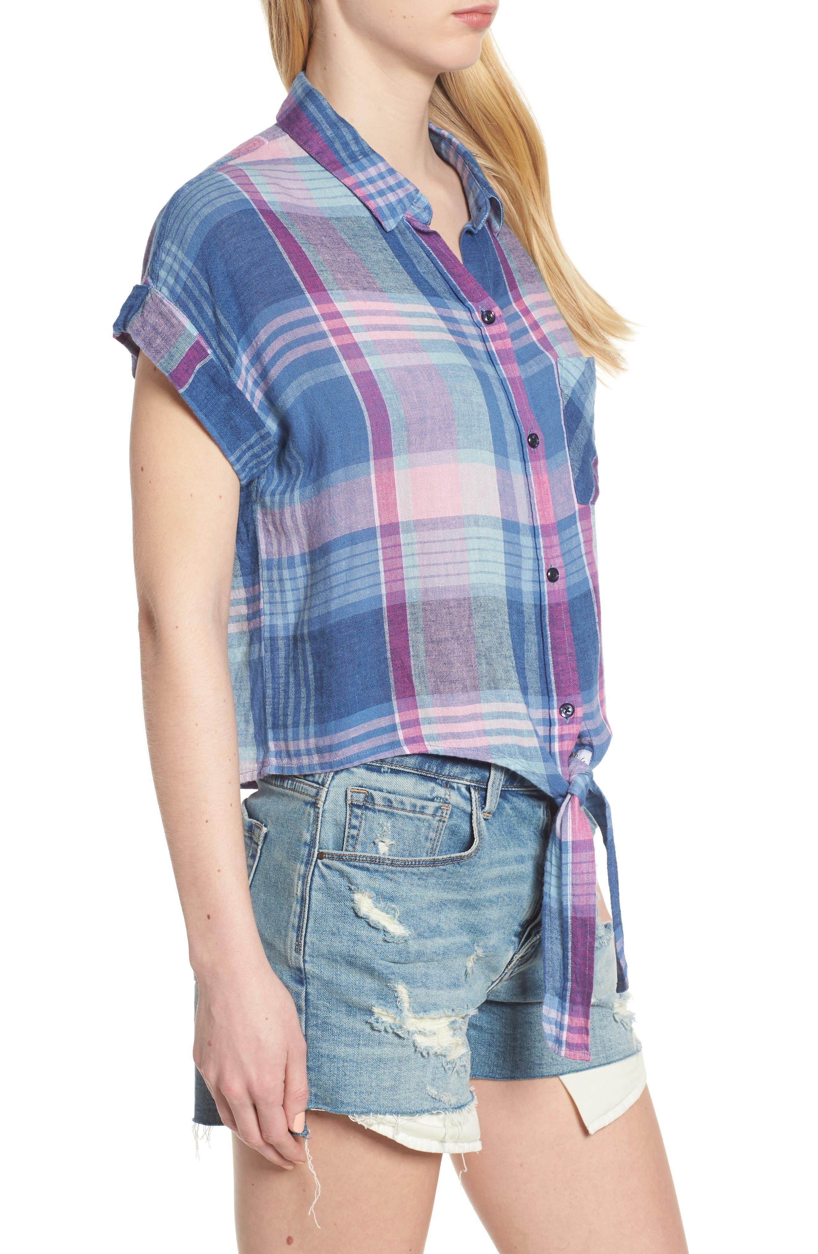 Amelie Tie Front Shirt,                             Alternate thumbnail 3, color,                             LAGUNA COAST AZALEA