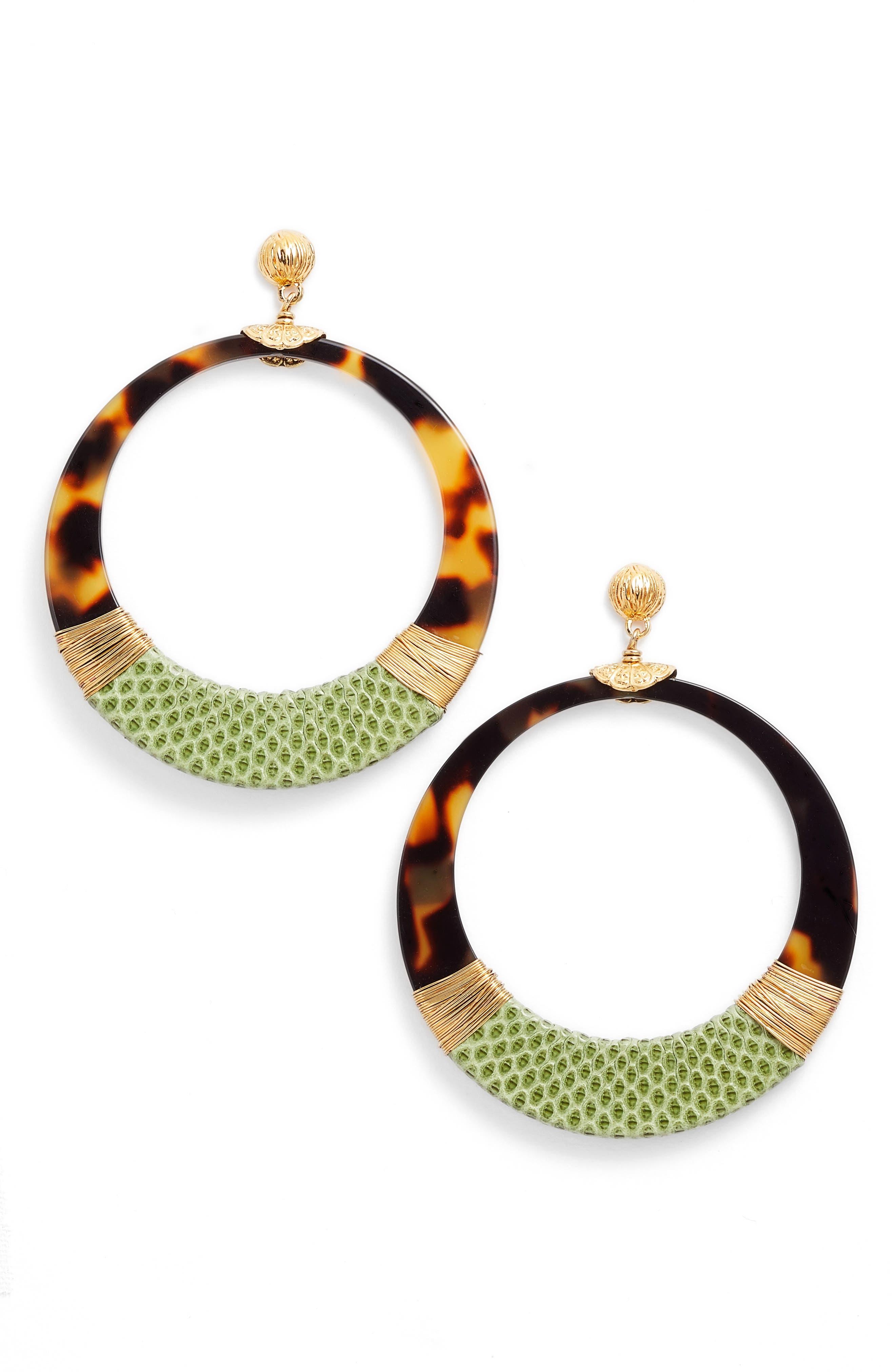 Lodge Genuine Snakeskin Wrapped Hoop Earrings,                             Main thumbnail 1, color,                             GREEEN/ TIGE