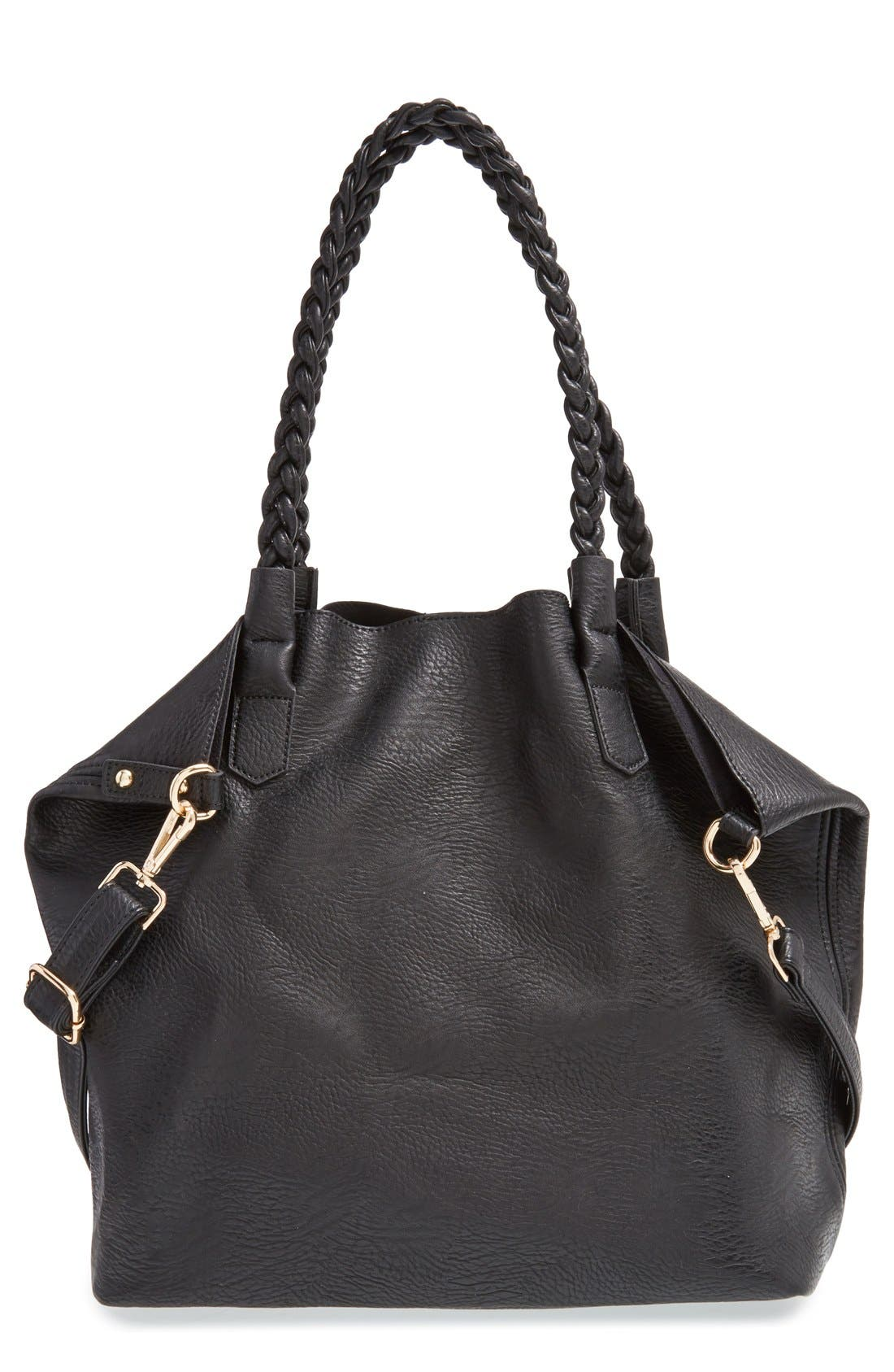Slouchy Faux Leather Tote with Pouch,                         Main,                         color, 001