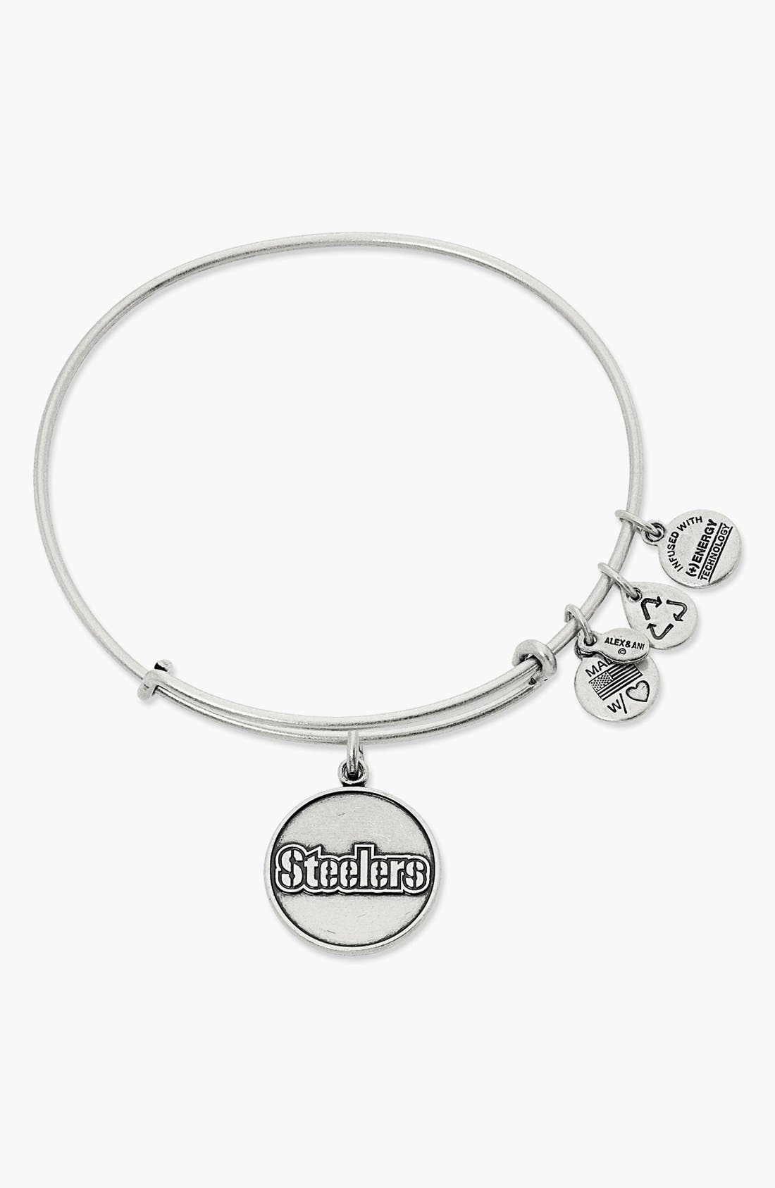 ALEX AND ANI 'Pittsburgh Steelers' Adjustable Wire Bangle, Main, color, 040